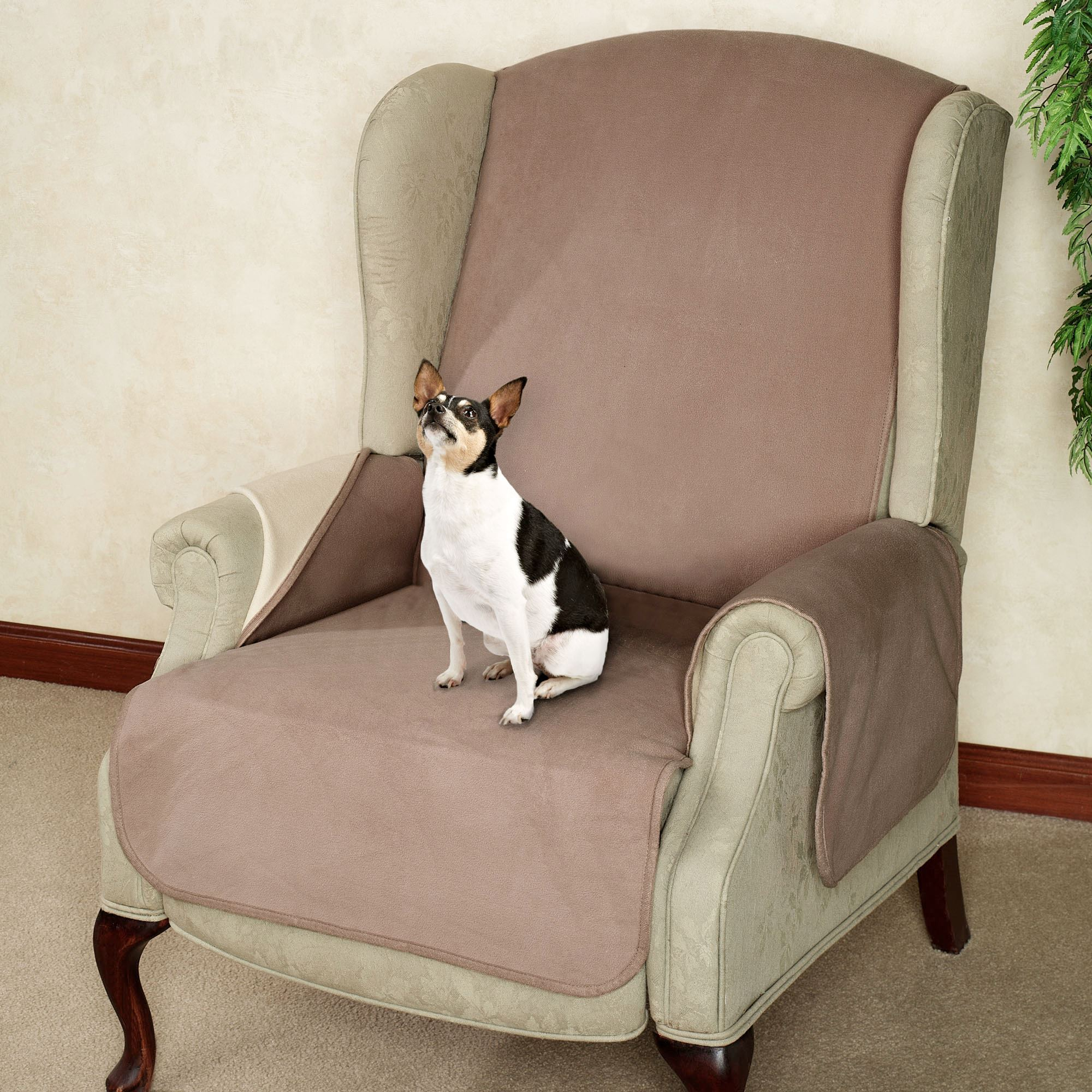 Fleece Reversible Pet Recliner/Wing Chair Cover