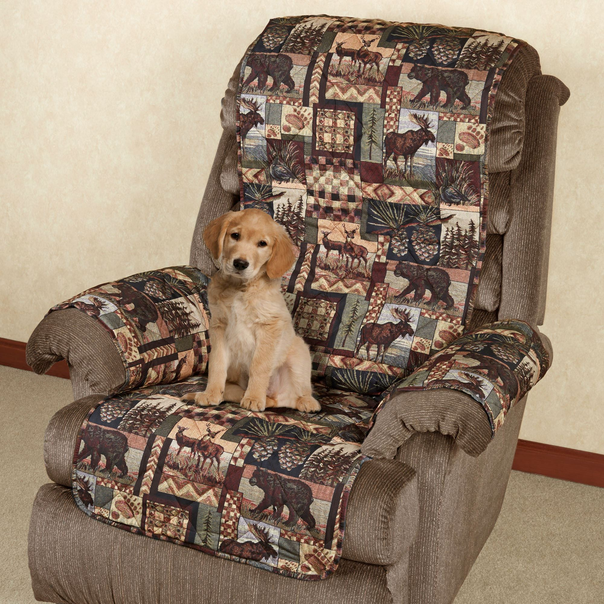 Beautiful Lodge Pet Recliner/Wing Chair Cover Multi Warm