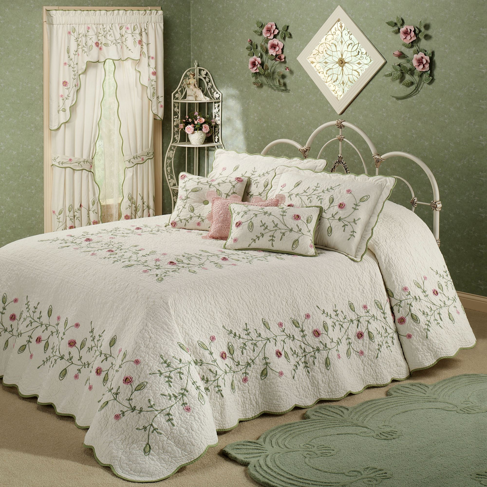 quilted bedspreads all arossa vintage product bedspread floral microfiber embroidered quilt