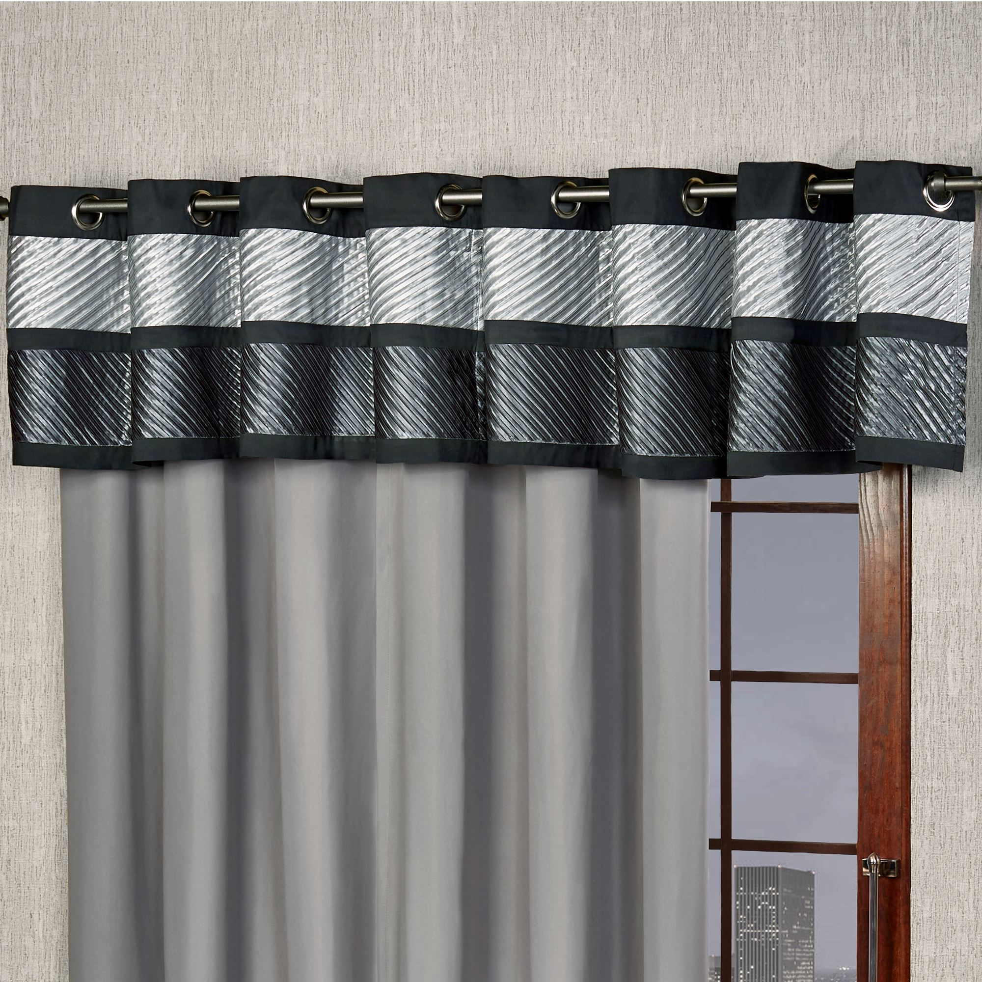 pocket gray zig rod with zag carousel valance trim navy accent elephants window designs large valances and