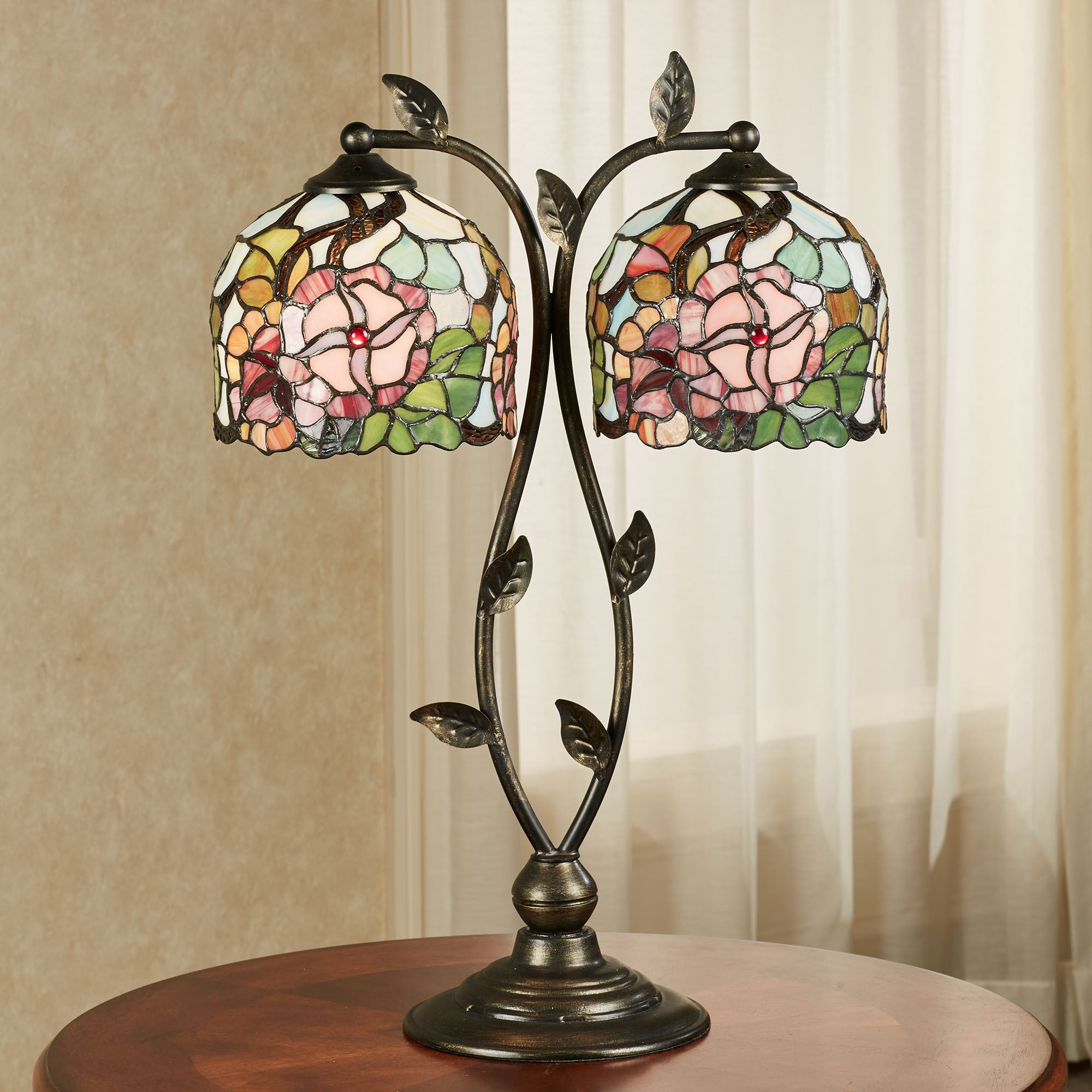 Picture of: Jacinthia Floral Stained Glass Double Shade Table Lamp