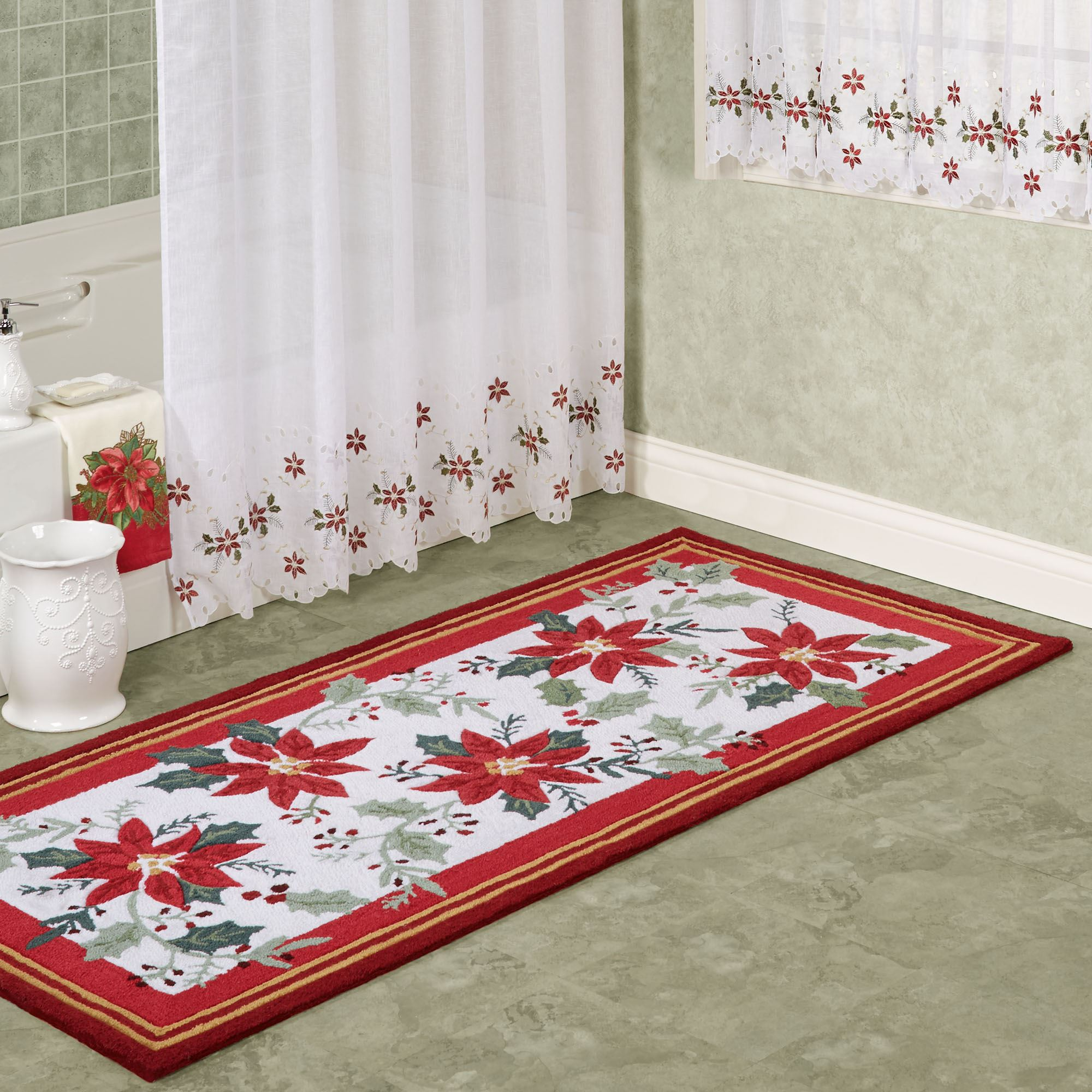 Poinsettia And Holly Holiday Area Rugs