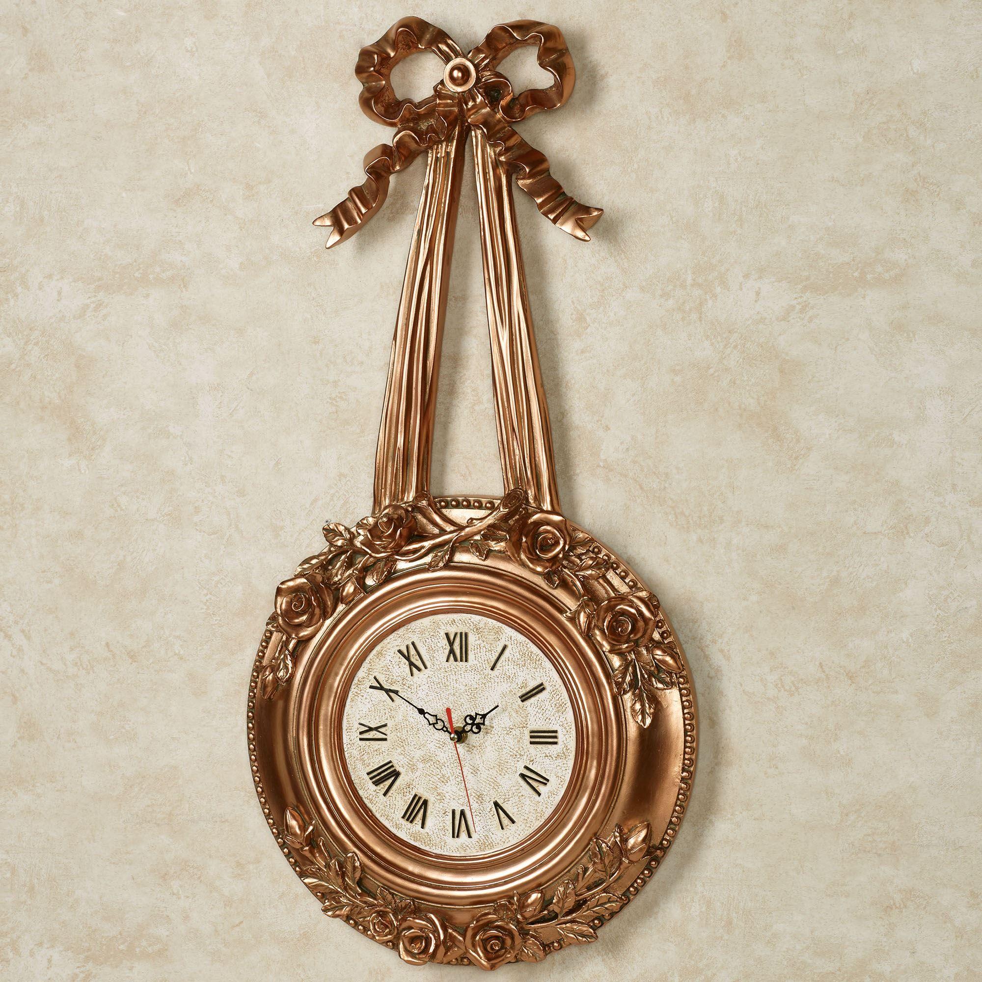 Roses Wall Clock Gold