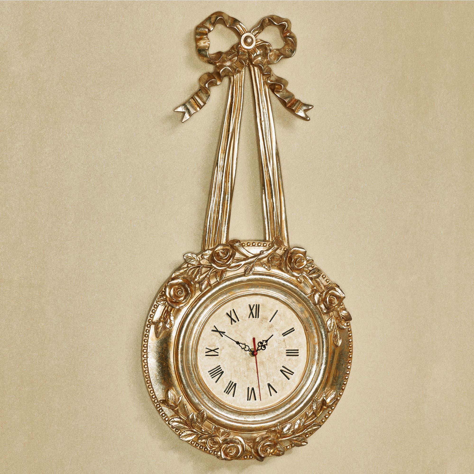 Roses Venetian Gold Wall Clock