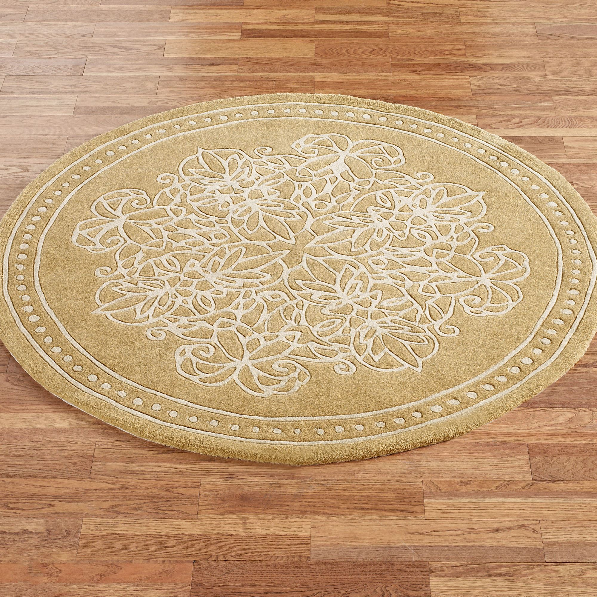 Golden Lace Round Area Rug