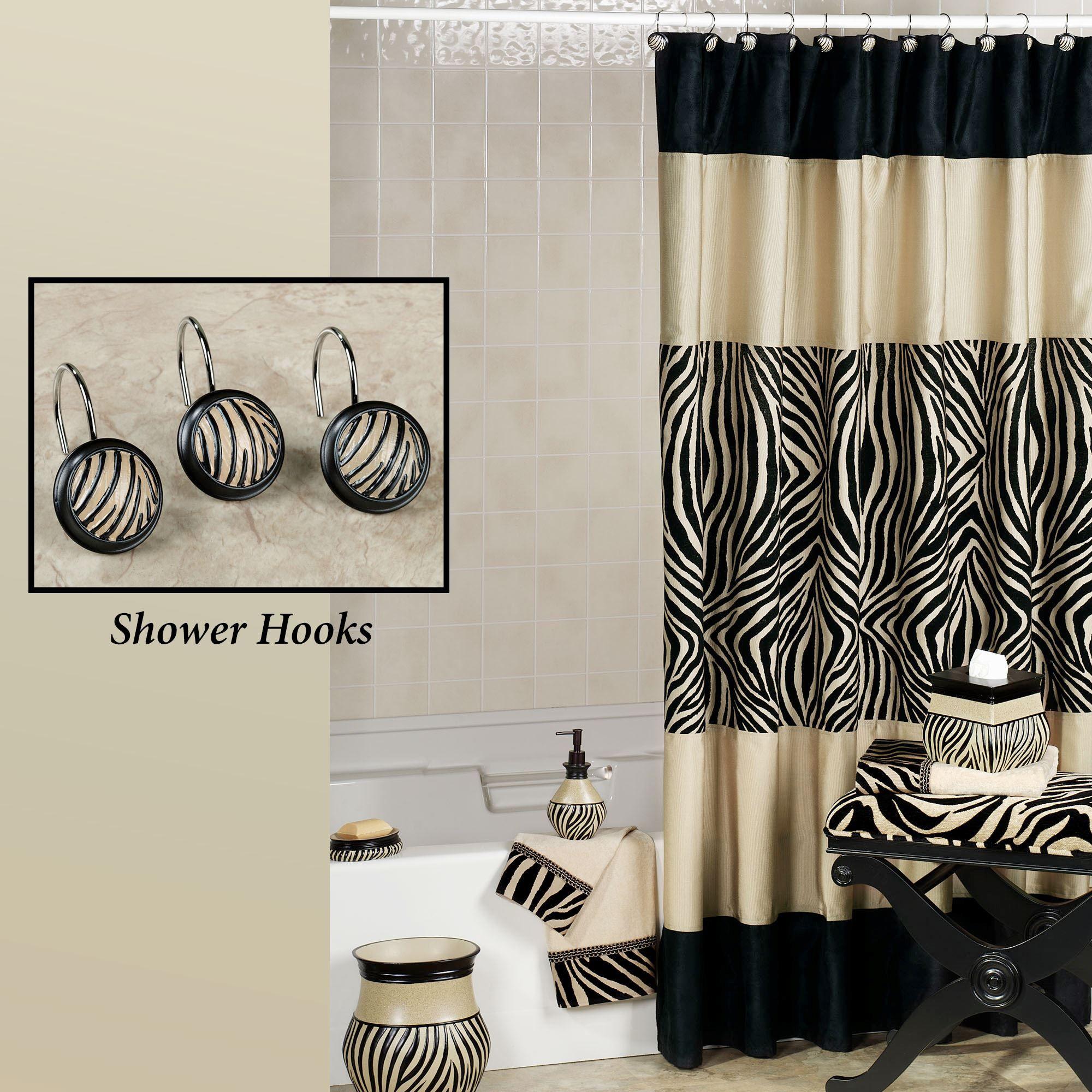Zuma Zebra Shower Curtain And Hooks