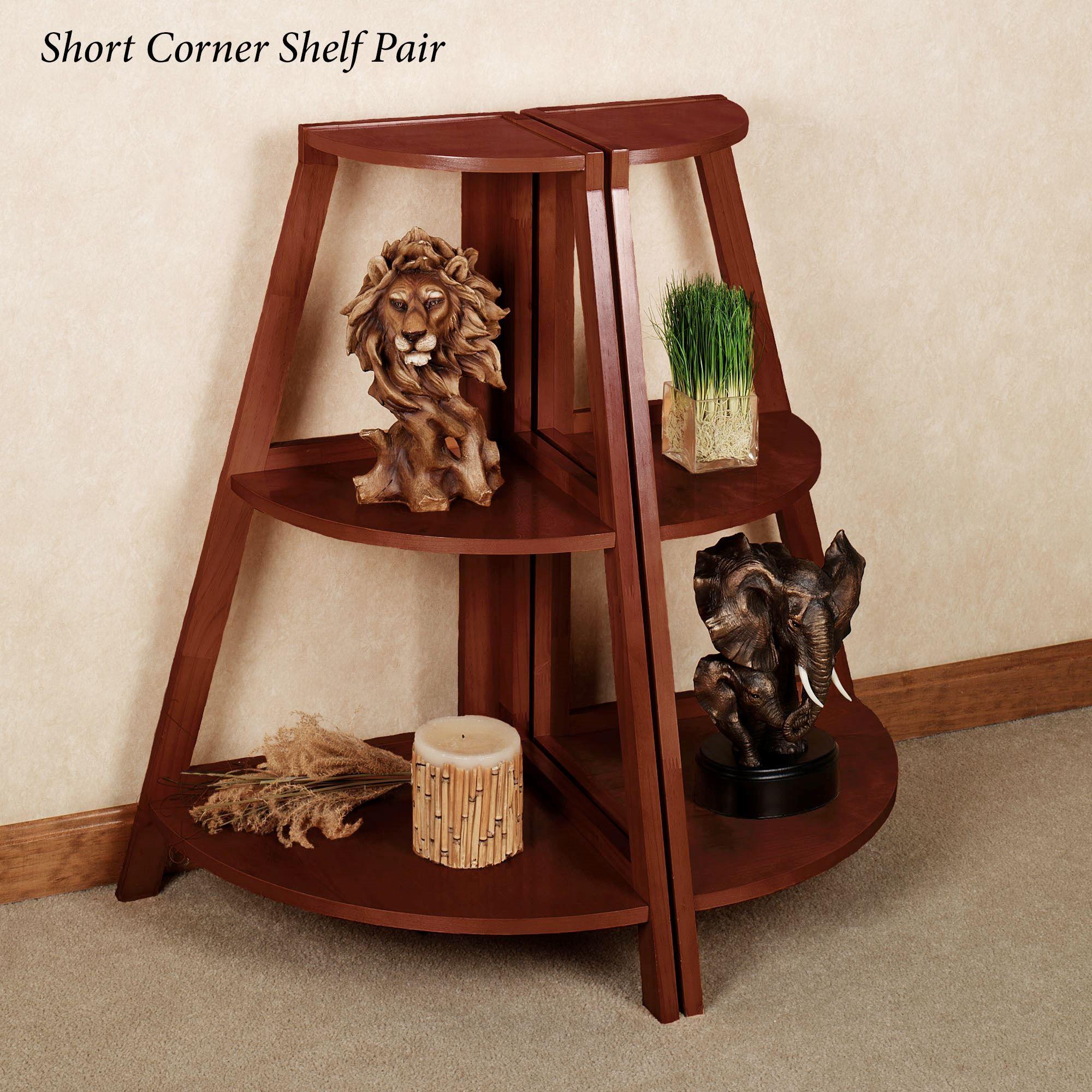 Kimber Short Corner Shelf Pair Clic Cherry Three Tier