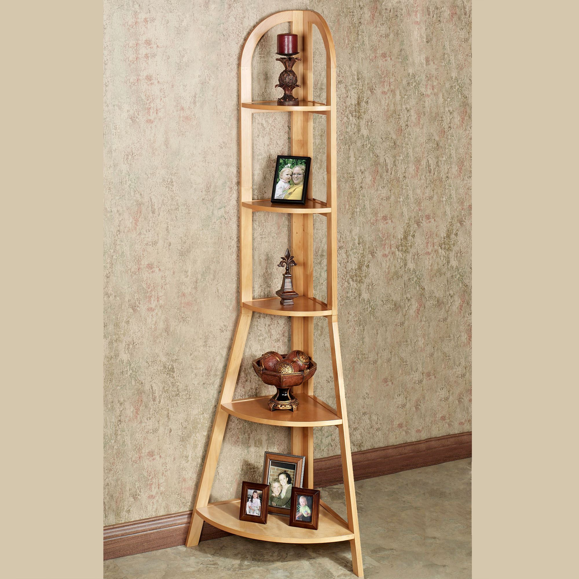 Kimber Tall Corner Shelf Only Natural Oak Five Tier
