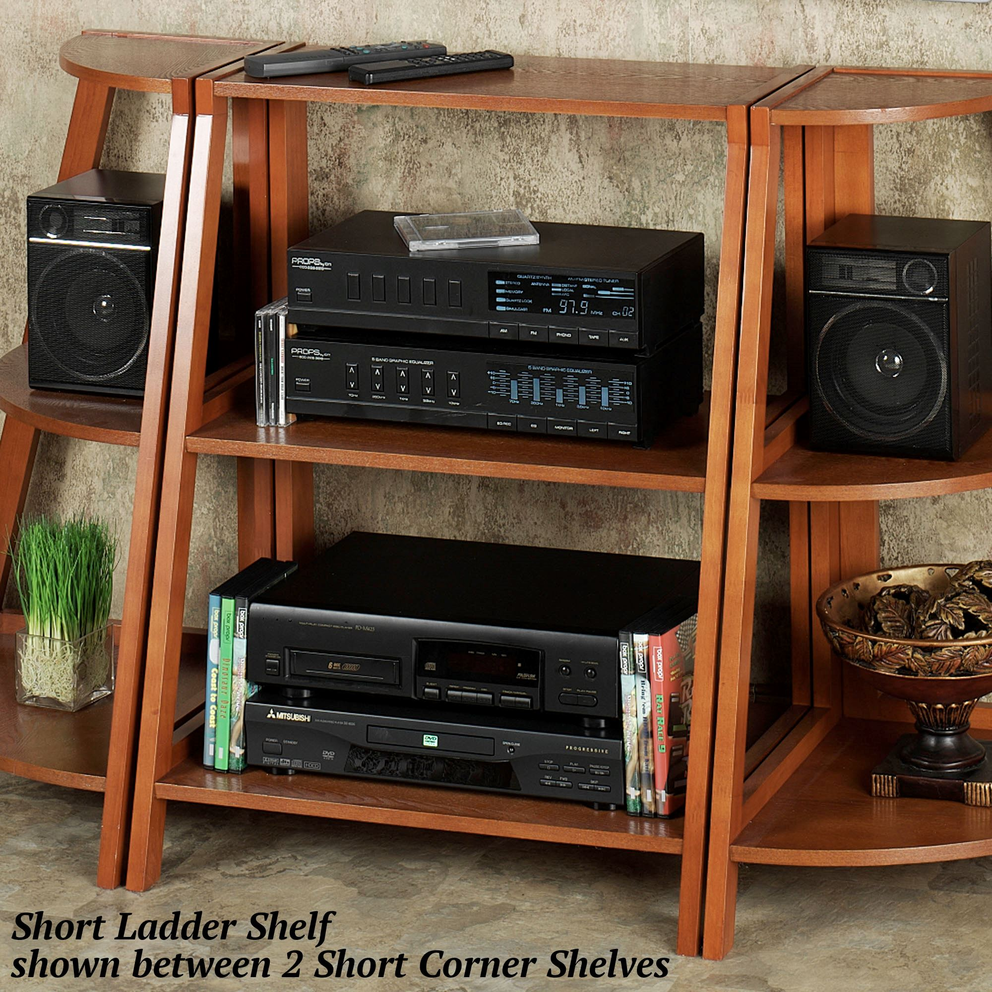 Kimber Short Ladder Shelf Only Mission Red Oak Three Tier