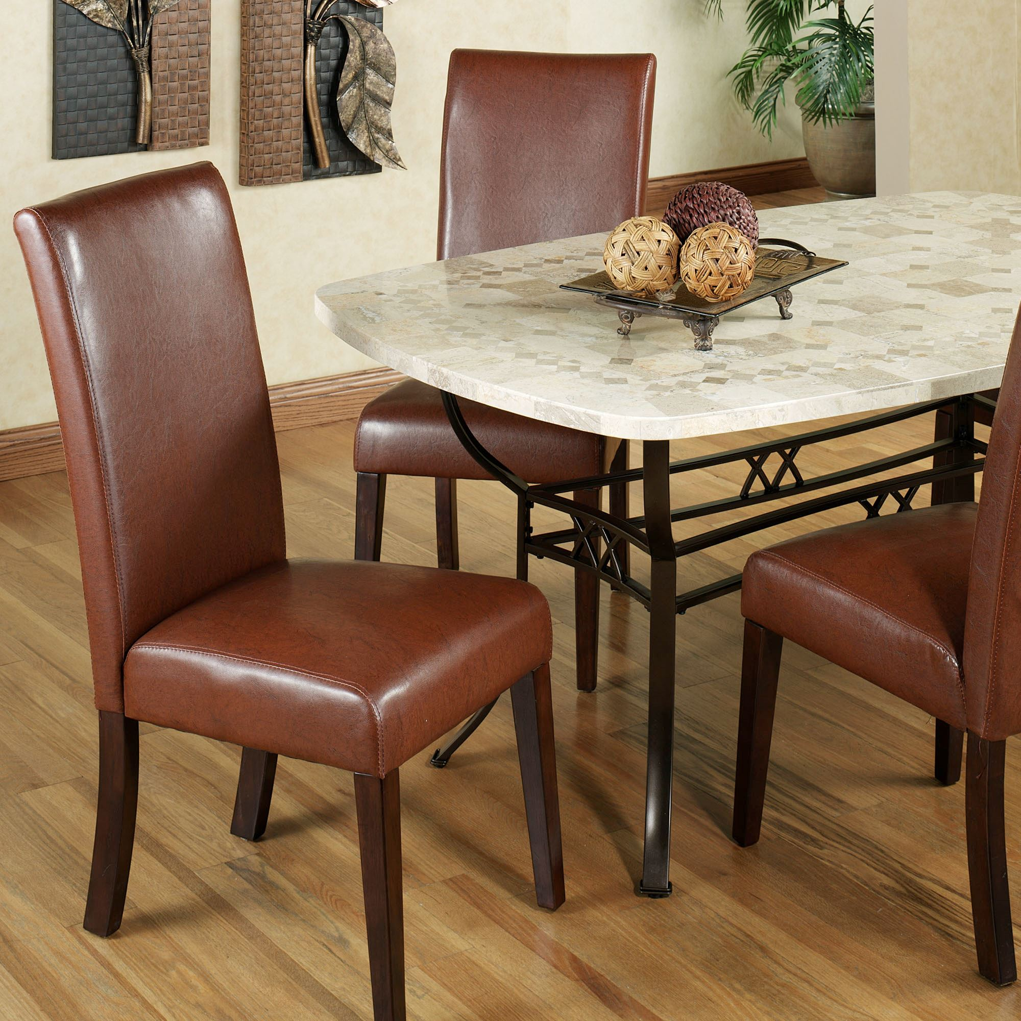 Kemper Rawhide Color Faux Leather Dining Chair Pair