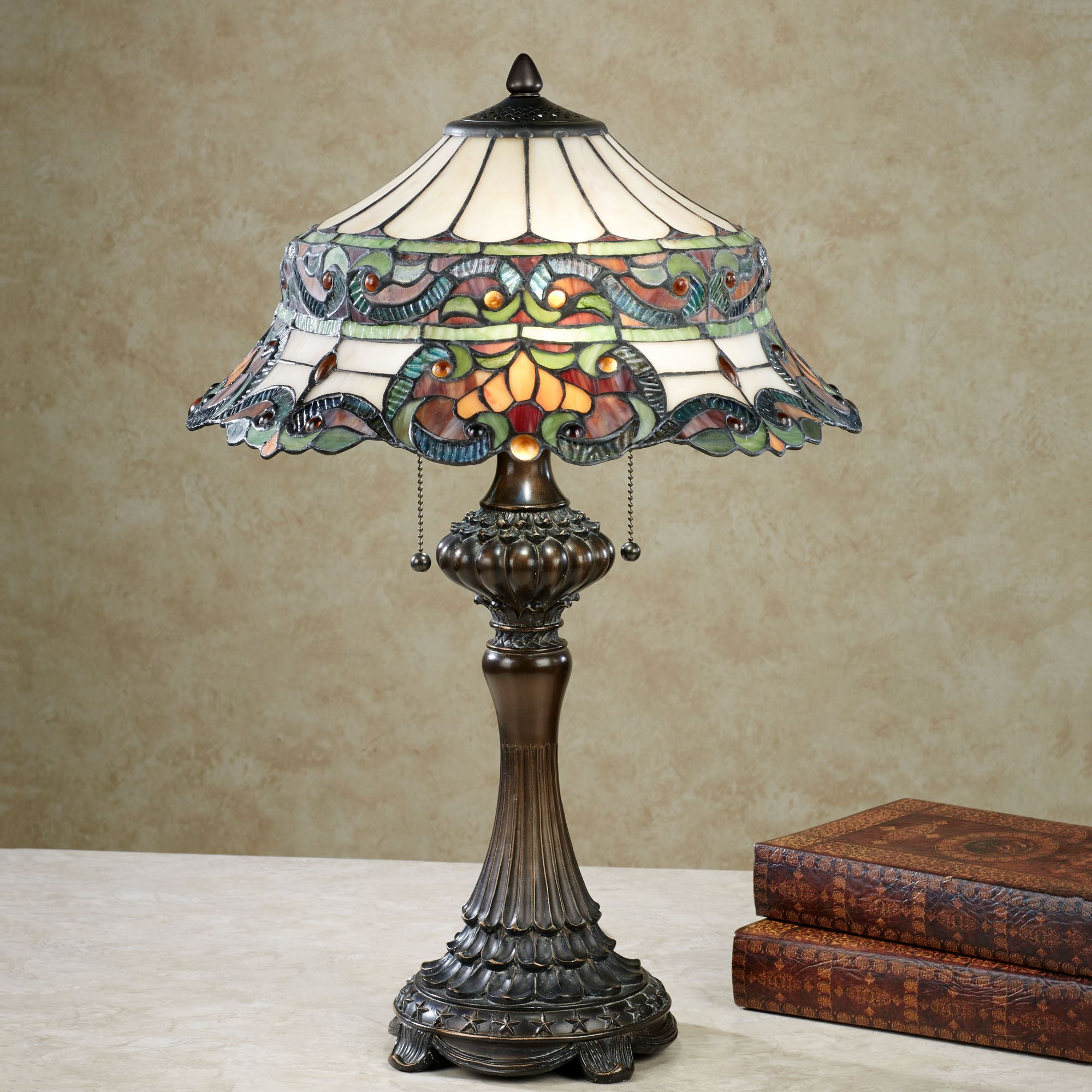 Grace Stained Glass Table Lamp With Cfl Bulbs