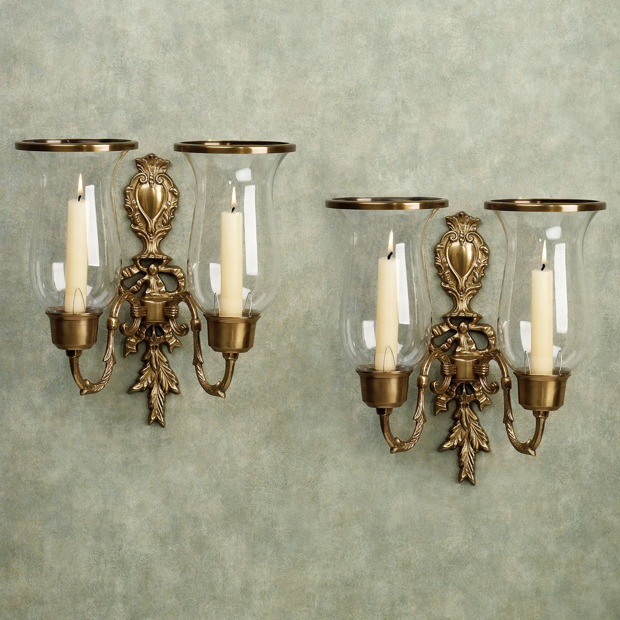 Nerissa Antique Brass Double Wall Sconce Pair. Nerissa Double Sconce. Click  To Expand