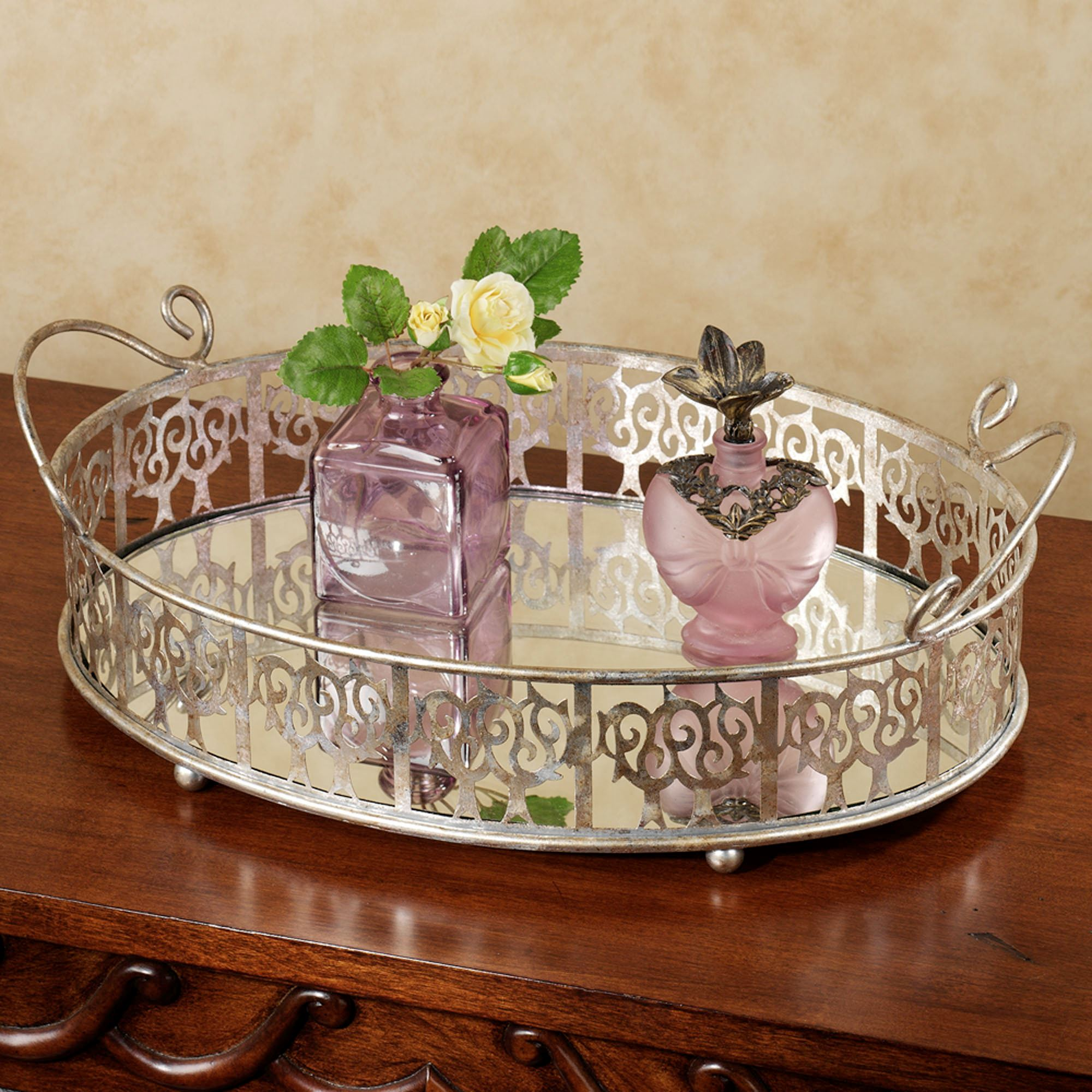 tone of oval home lovely perfume tray mirrored gold bathroom dresser for vanity