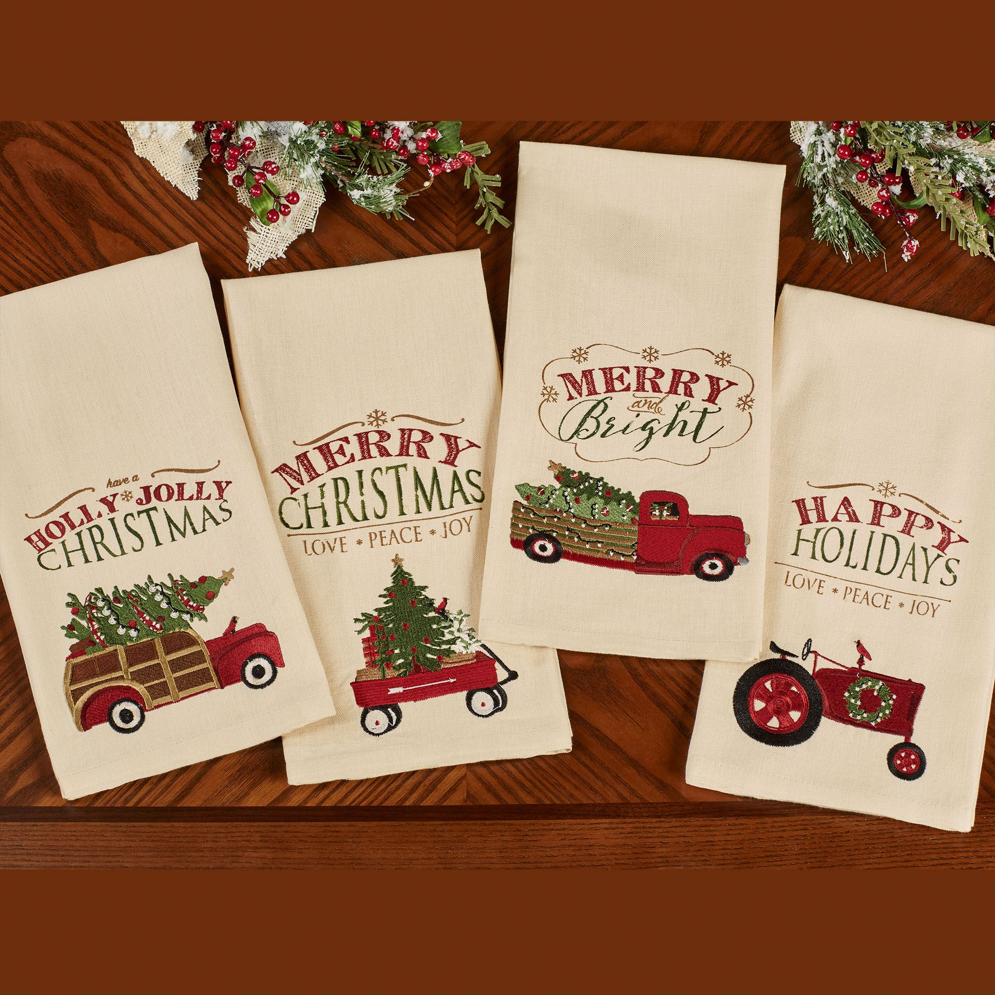 Over the River 4 pc Embroidered Holiday Kitchen Dish Towel Set