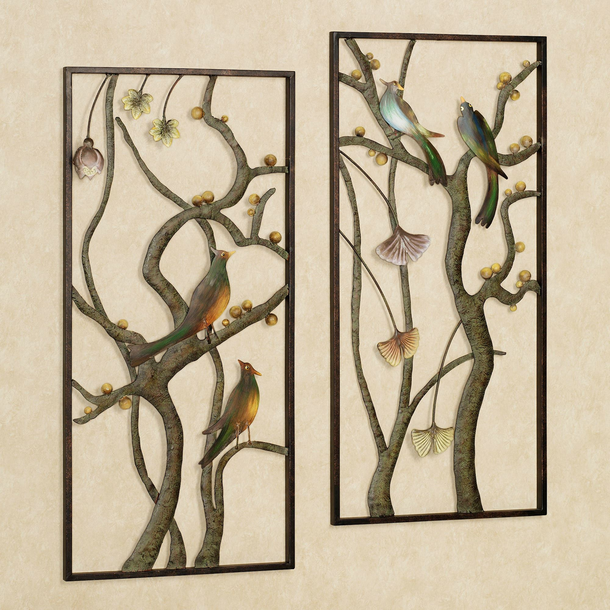 Asian garden metal wall panel art set for Ready set decor reviews