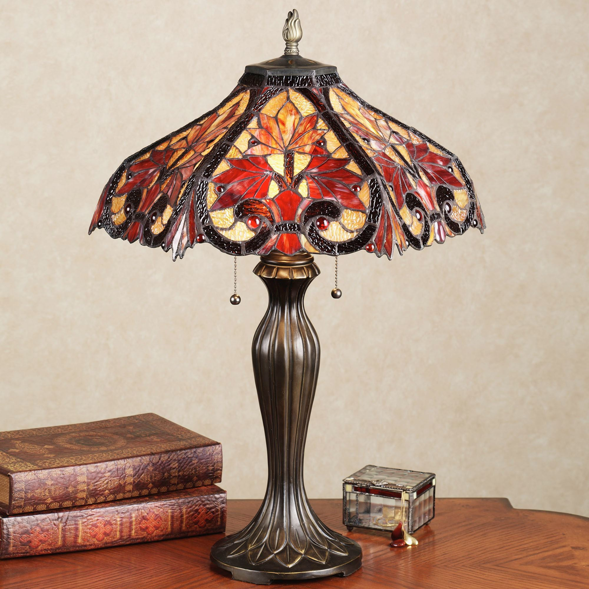 Whispering Foliage Stained Glass Table Lamp With LED Bulbs