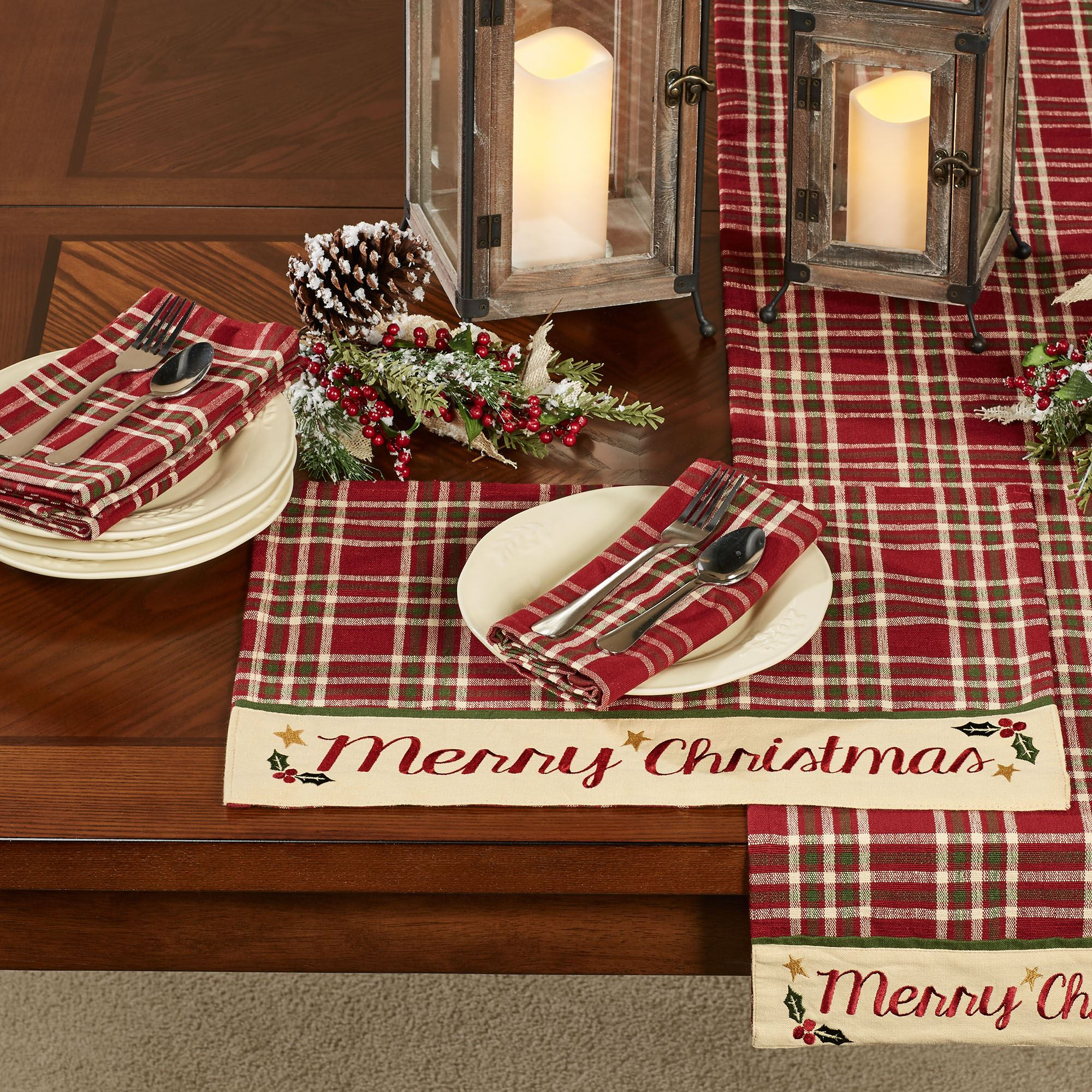 Merry Christmas Placemats Cranberry Set Of Four