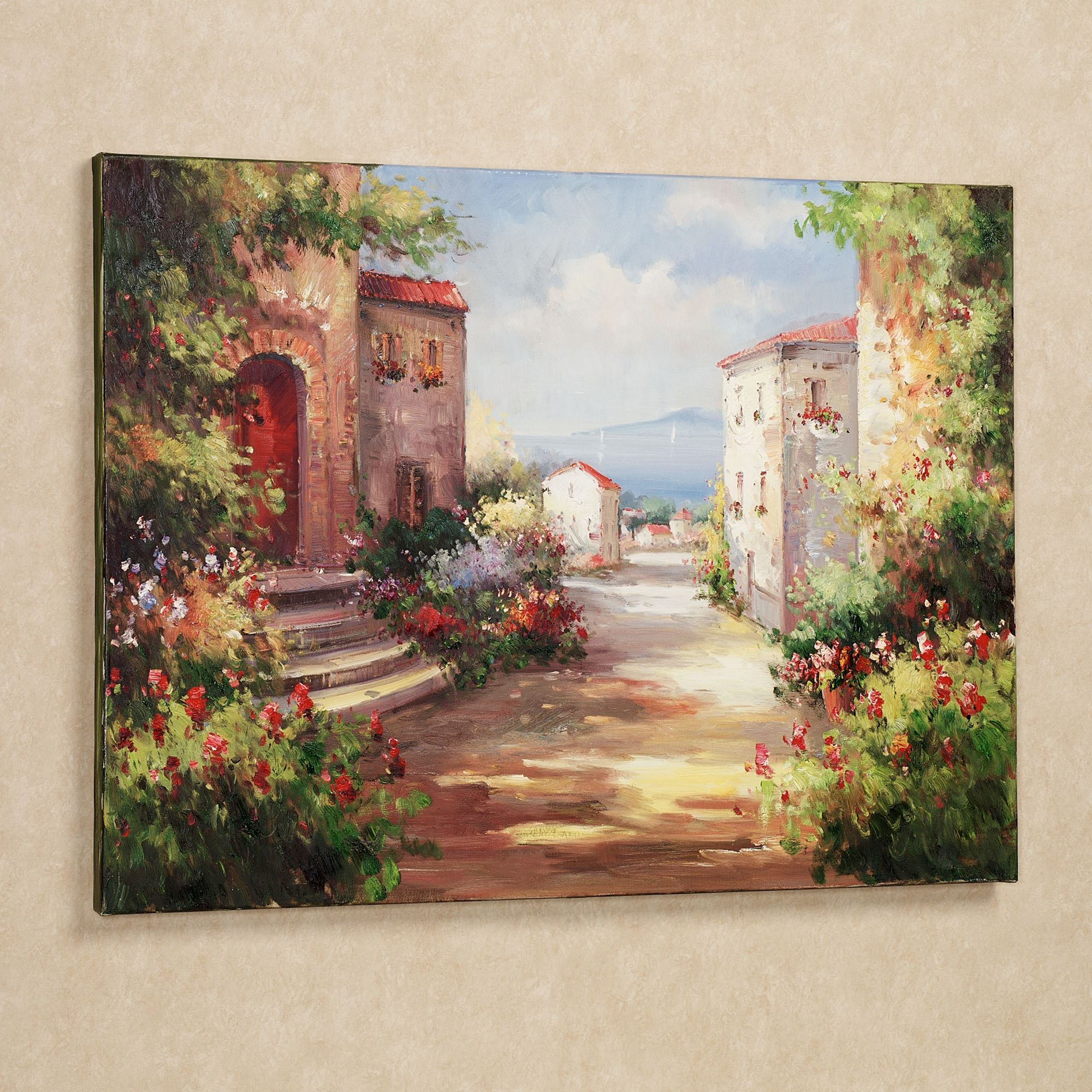 Tuscan summer handpainted canvas art for Canvas mural painting