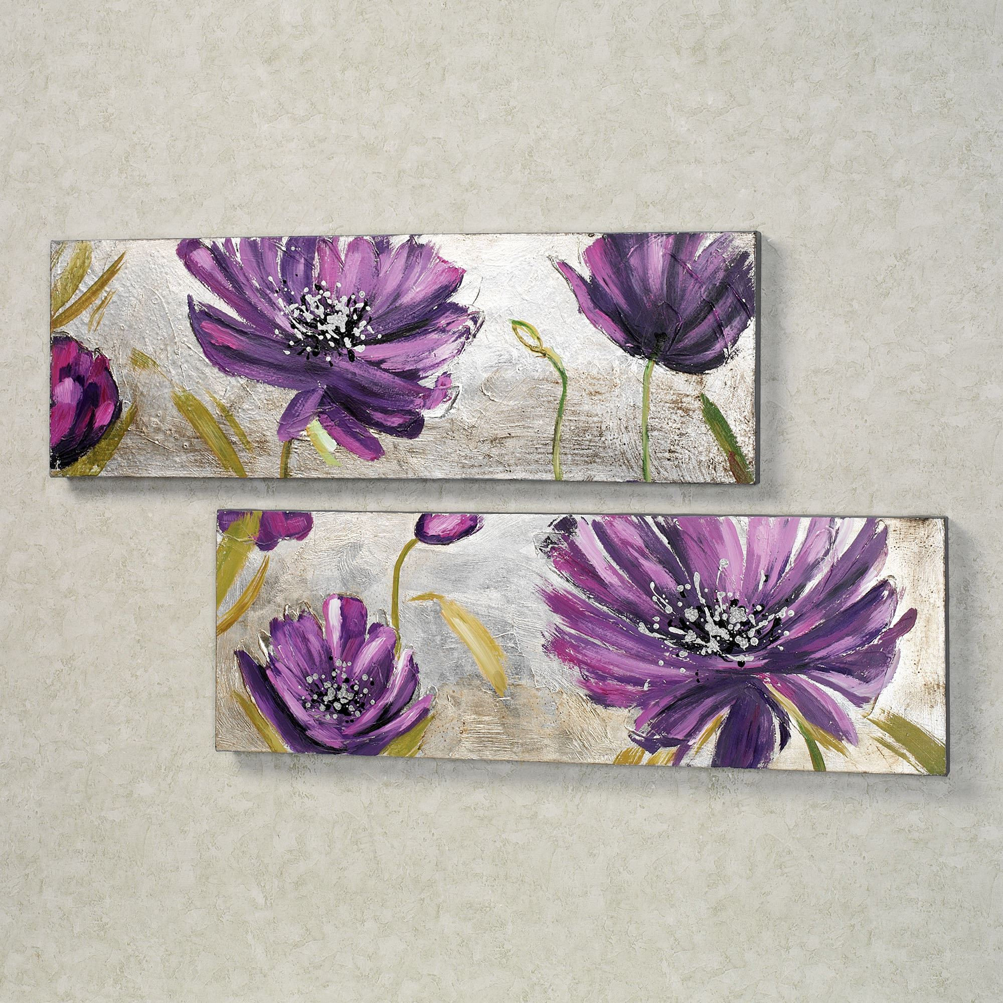 Great Purple Allure Canvas Wall Art Set Set Of Two. Click To Expand