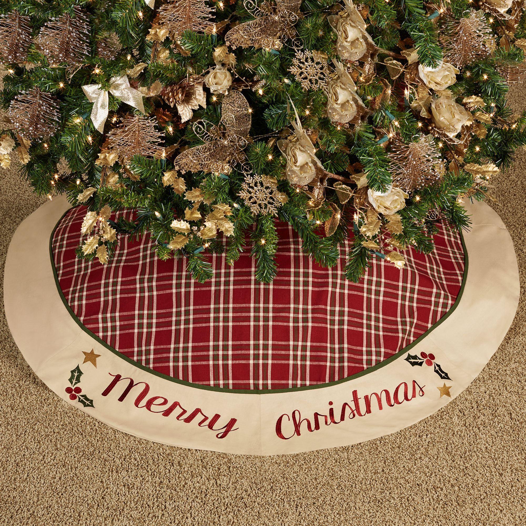 Merry Christmas Plaid Tree Skirt