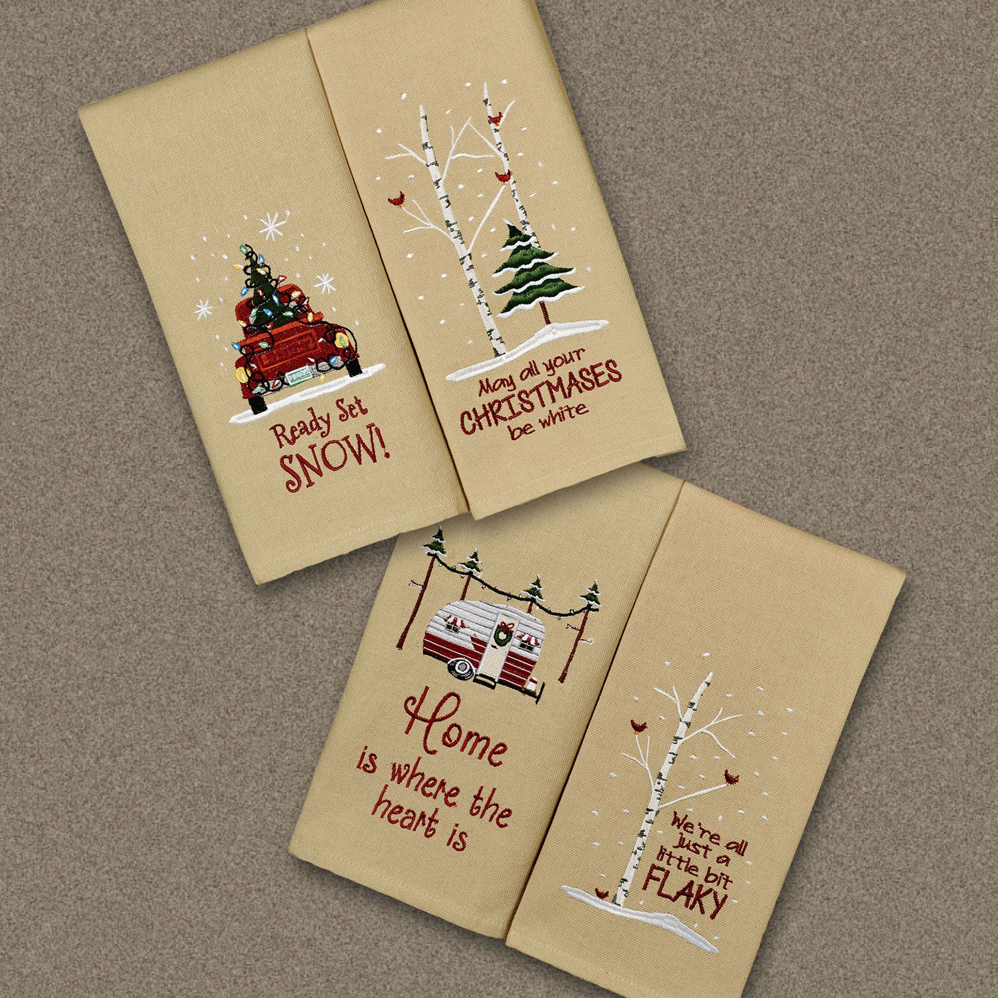 Christmas 4 pc Embroidered Holiday Kitchen Dish Towel Set