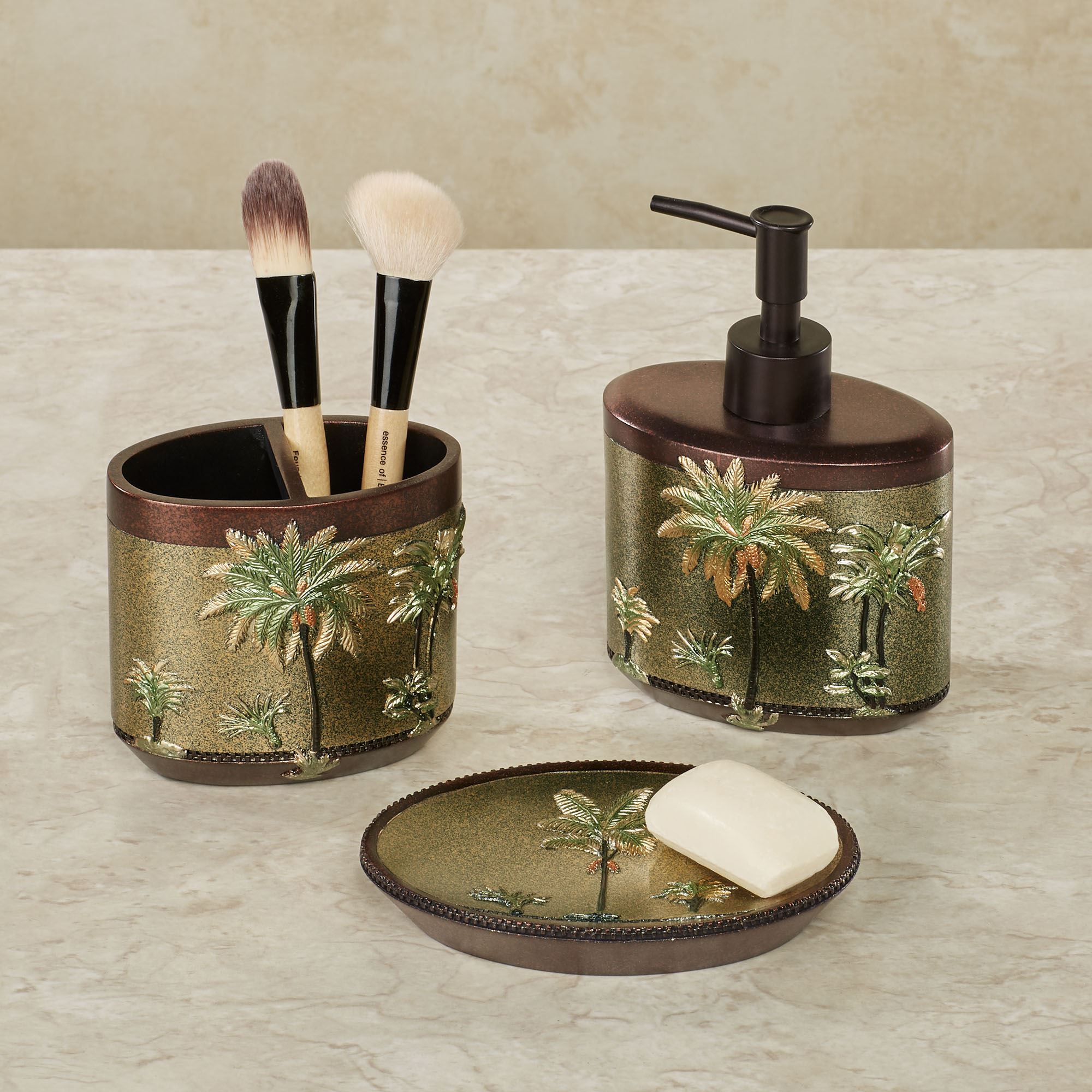 Havana tropical palm tree bath accessories for Green and brown bathroom set