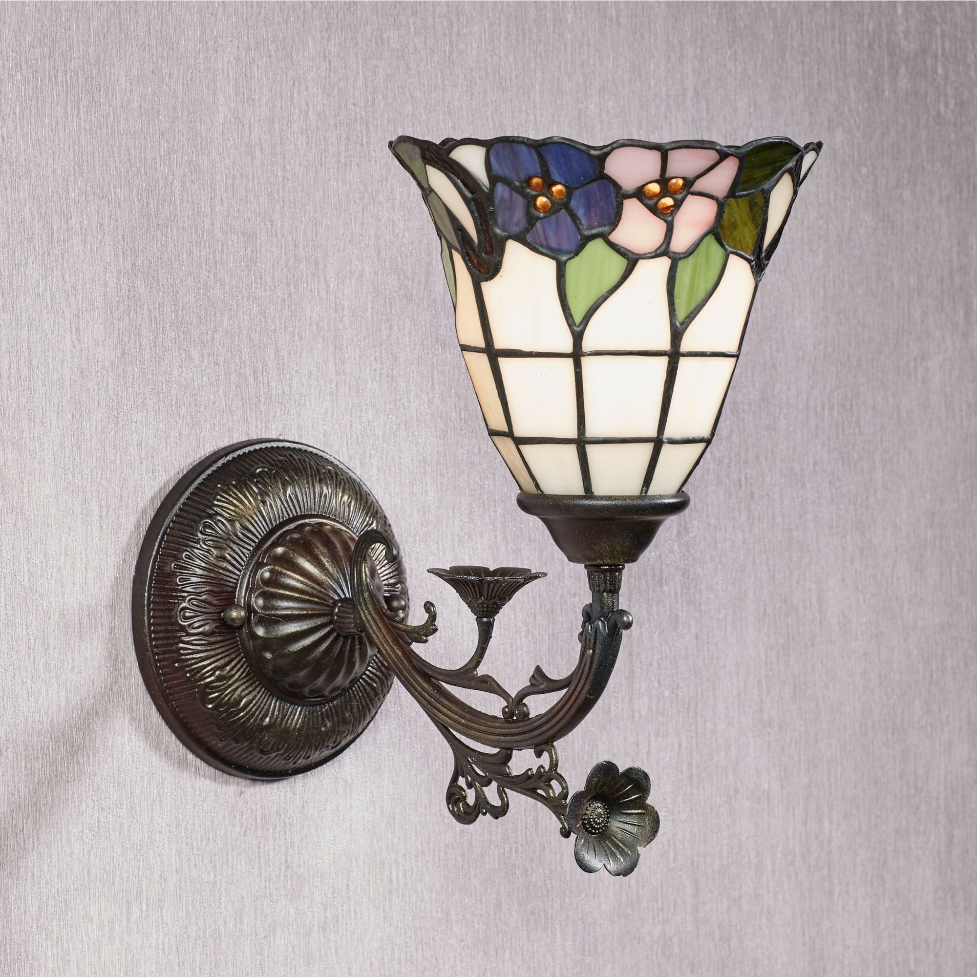 Shyla Floral Stained Glass Wall Sconce Lamp