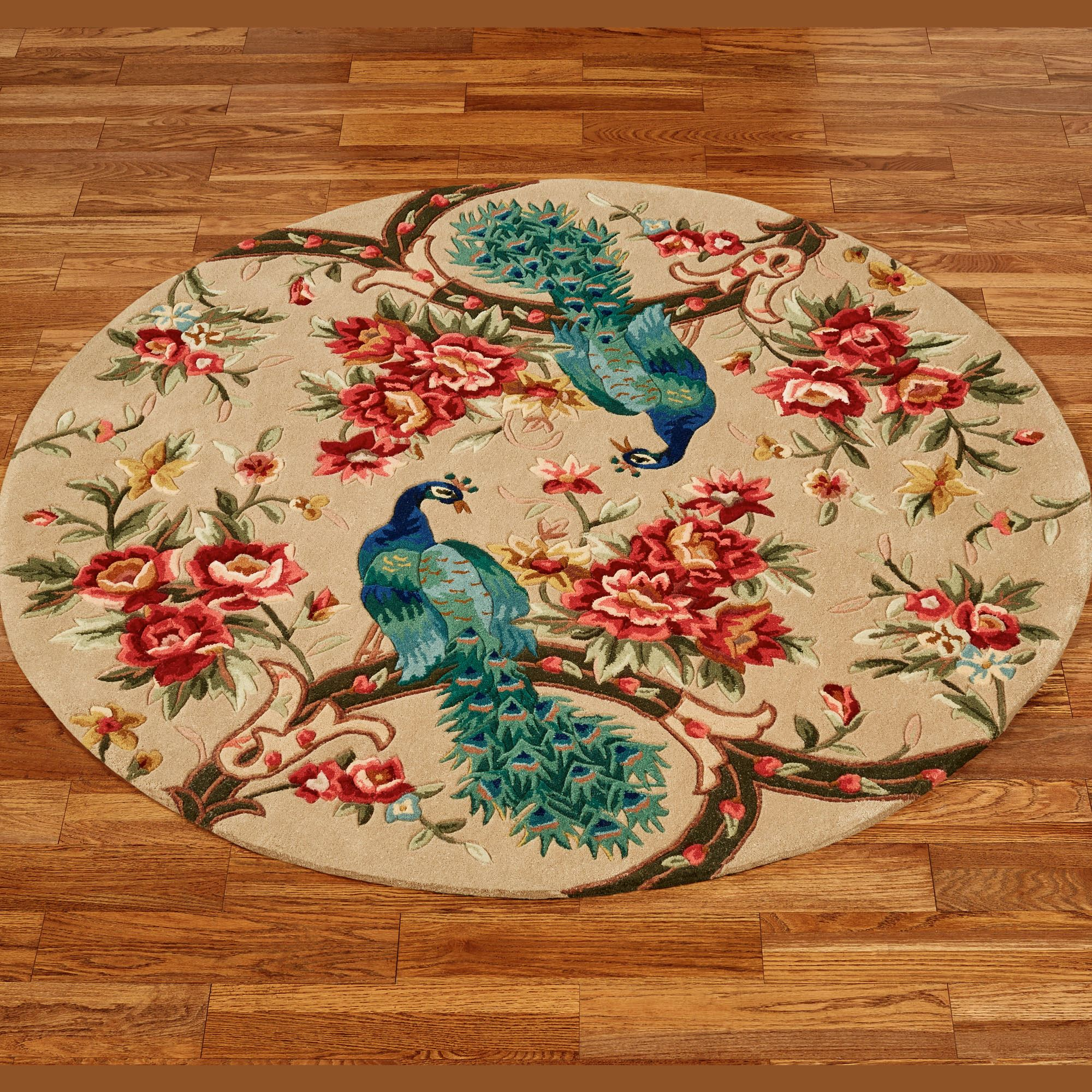 Peacock Garden Round Rugs