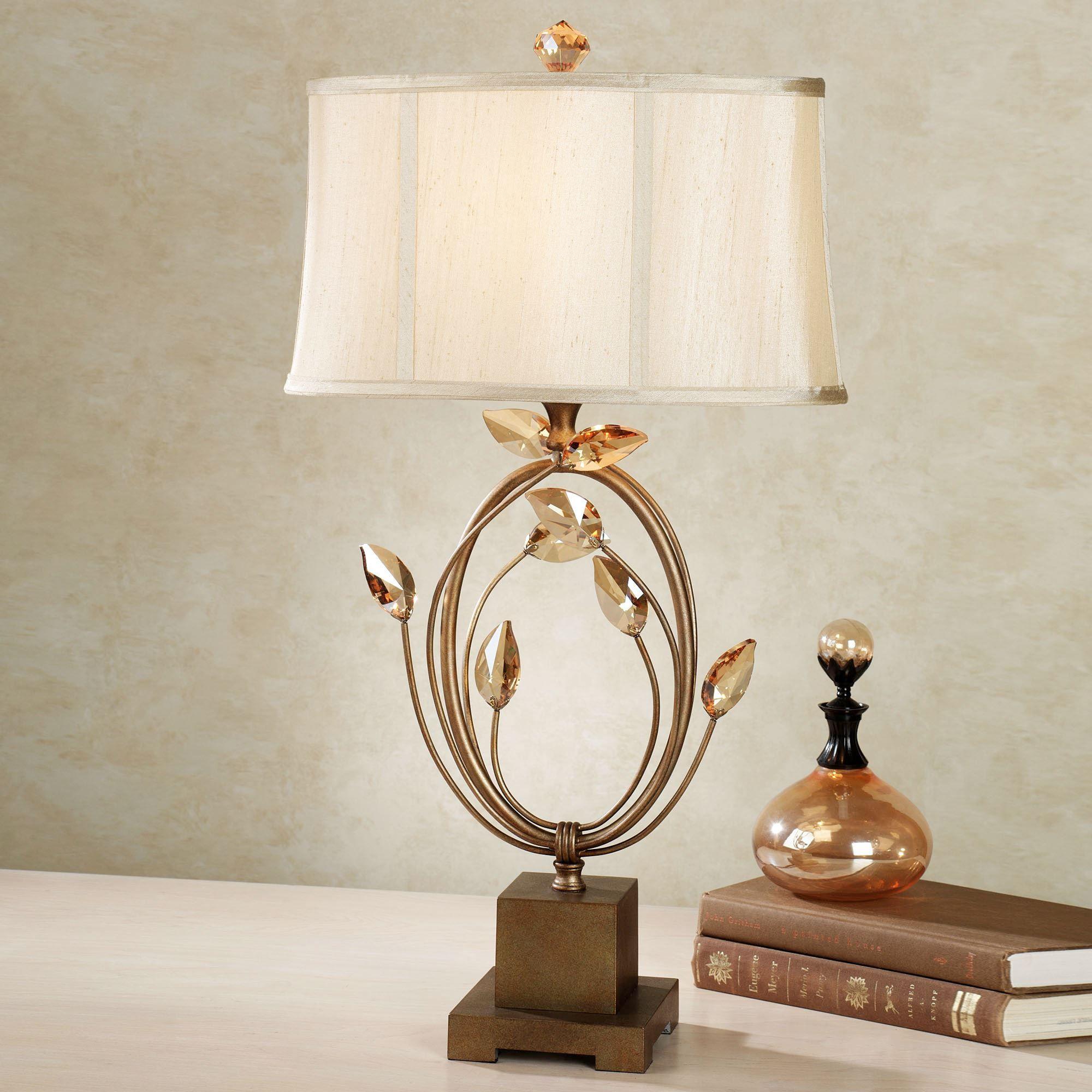 Elena Crystal Leaf Metal Table Lamp