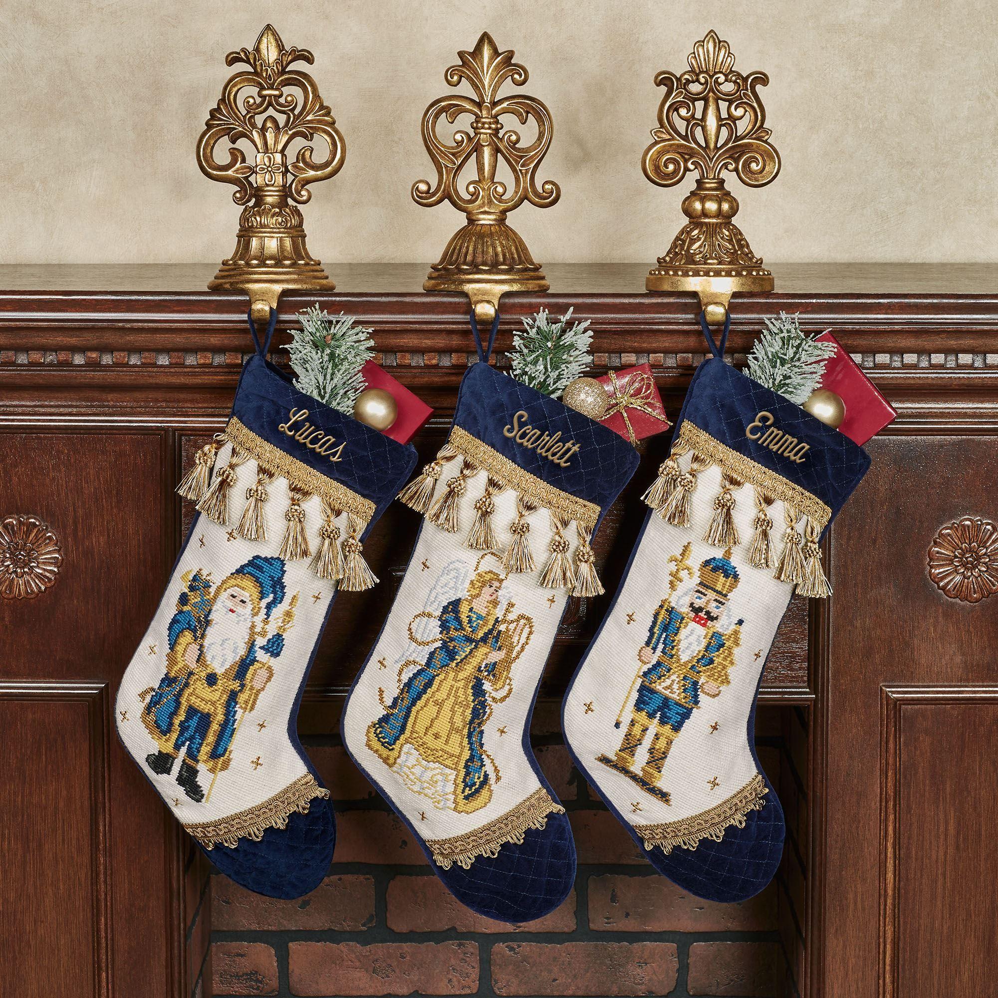 Needlepoint Christmas Stockings.Holiday Reflections Navy Needlepoint Christmas Stockings