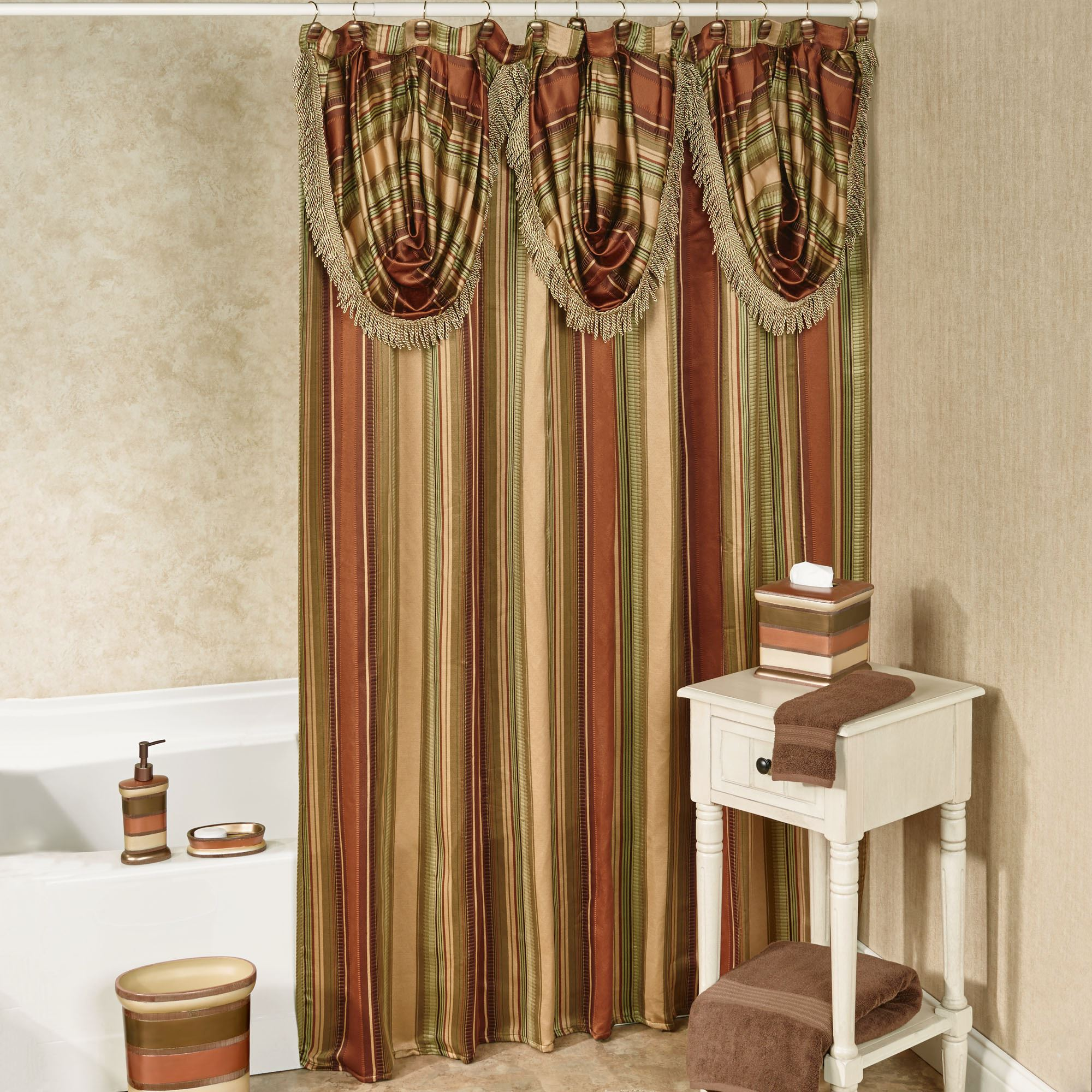 nice elegant swag curtain double fabric shower valance