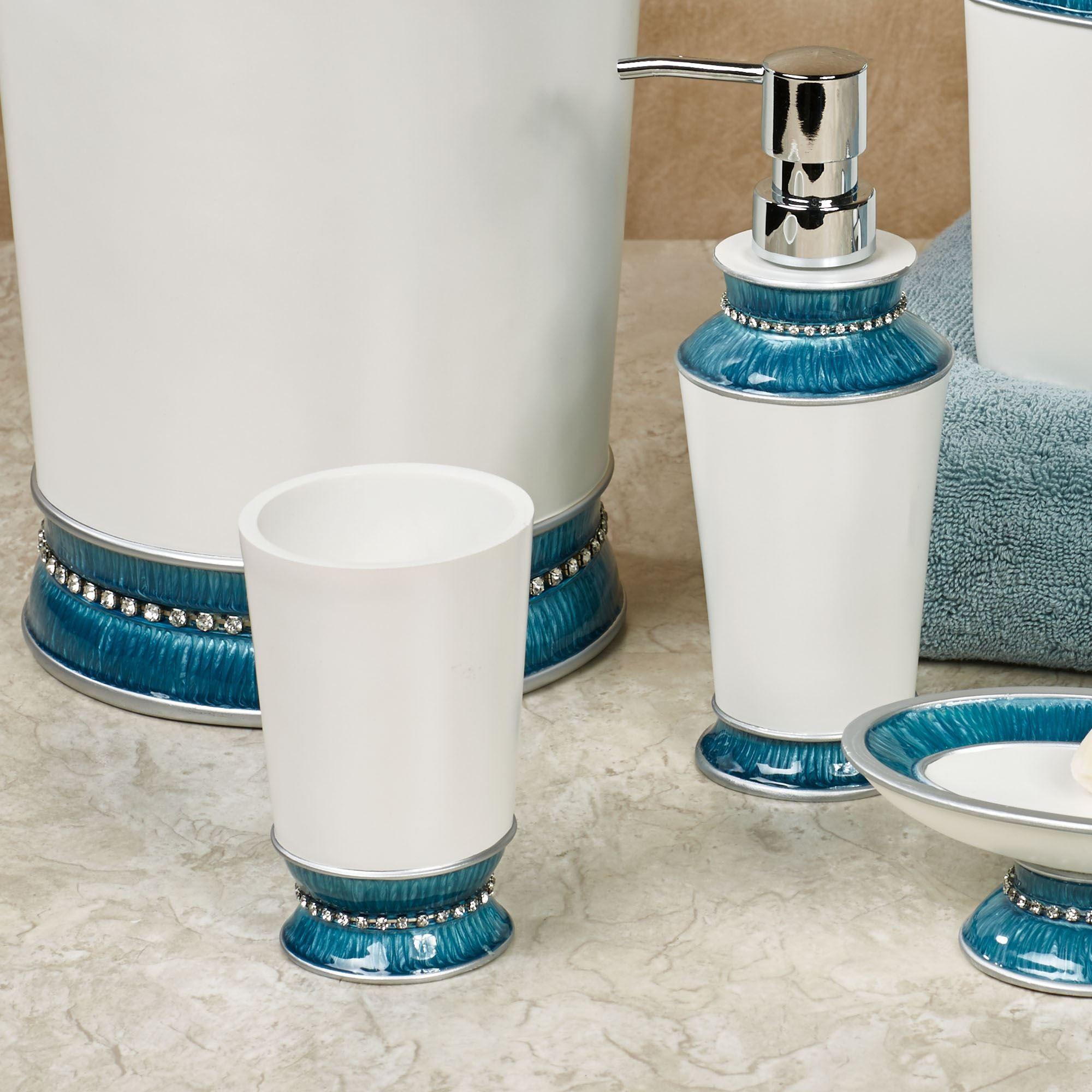 Chic Aqua Trim Bath Accessories