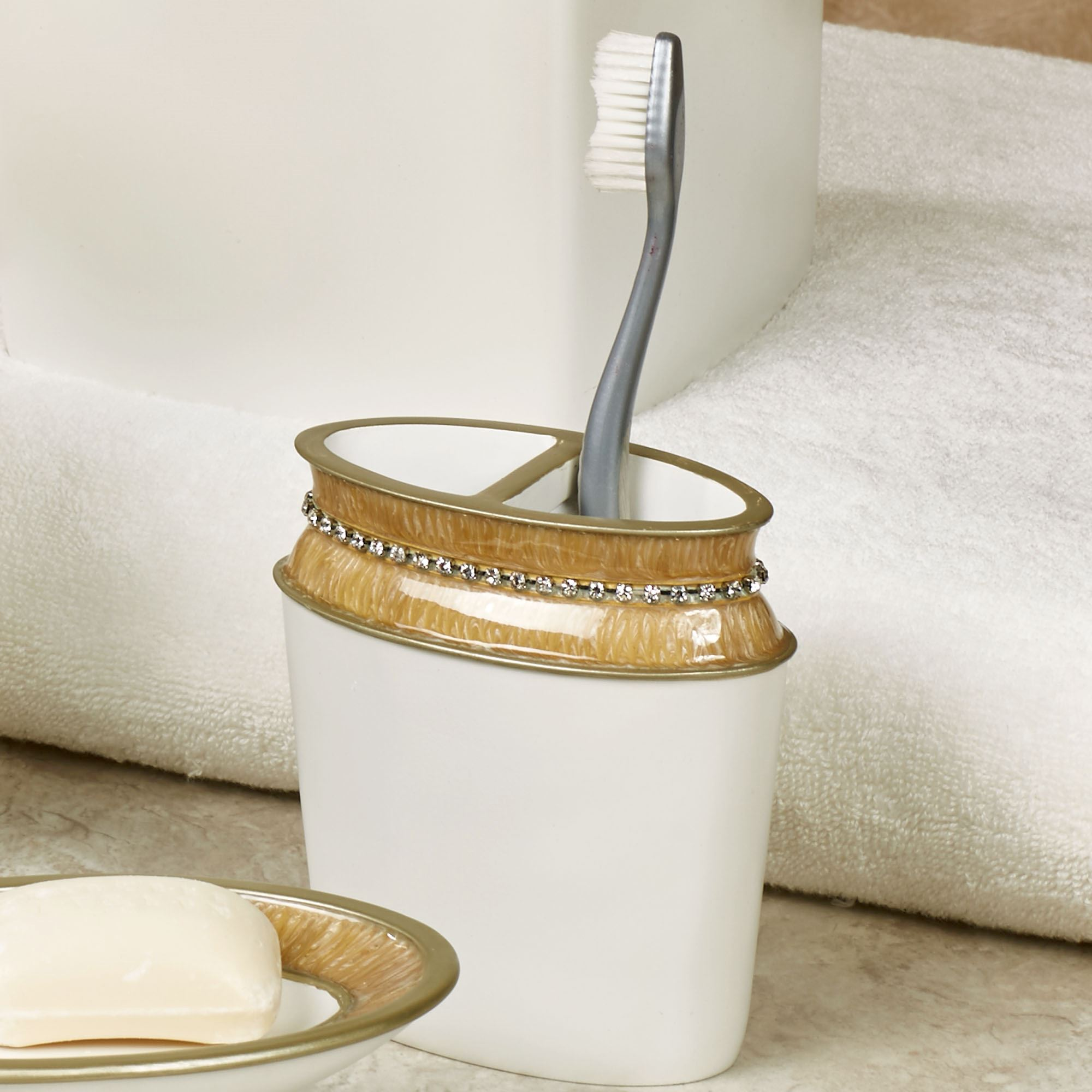 Chic Gold Trim Bath Accessories