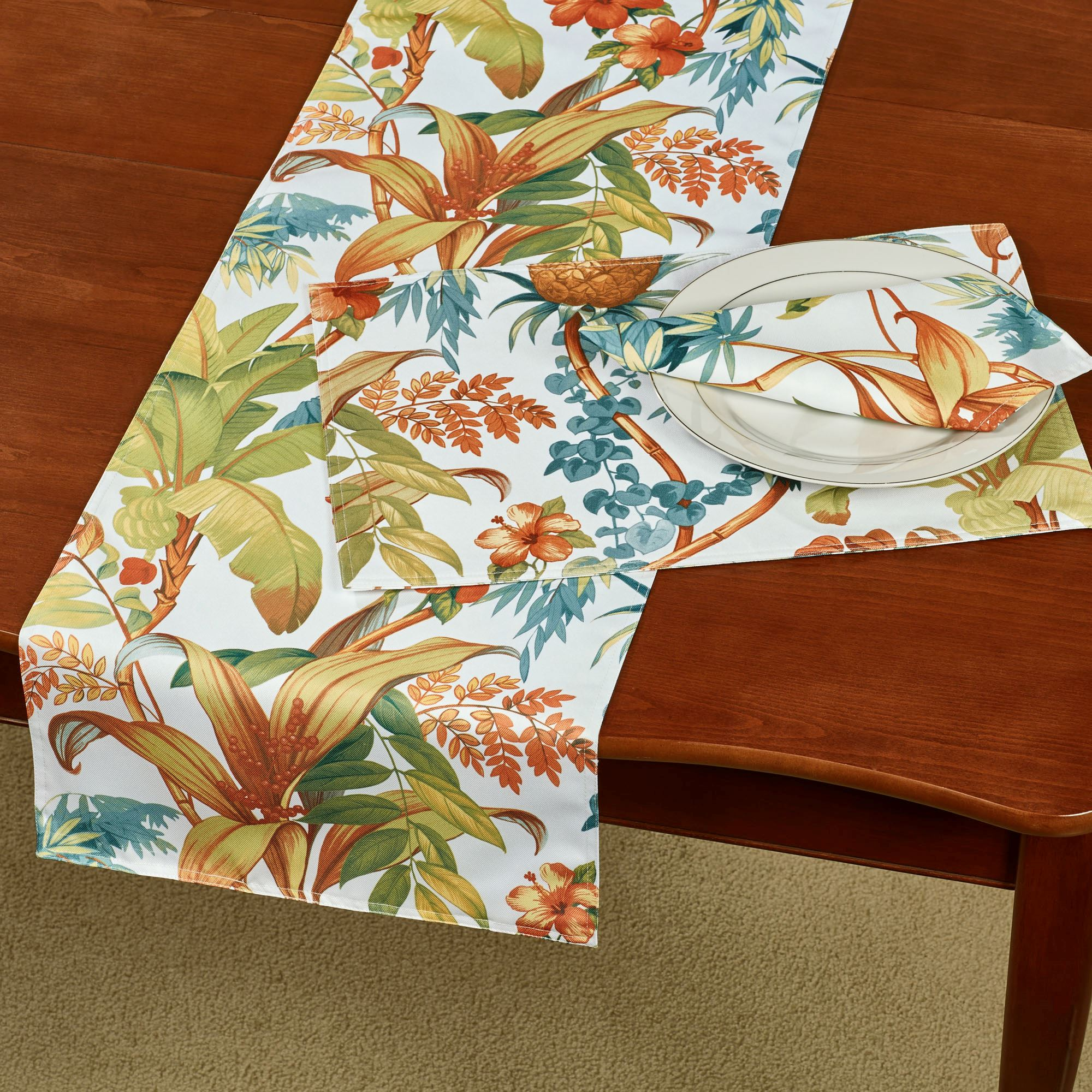 Tortuga Indoor Outdoor Tropical Table Runner And Linens By Tommy Bahama