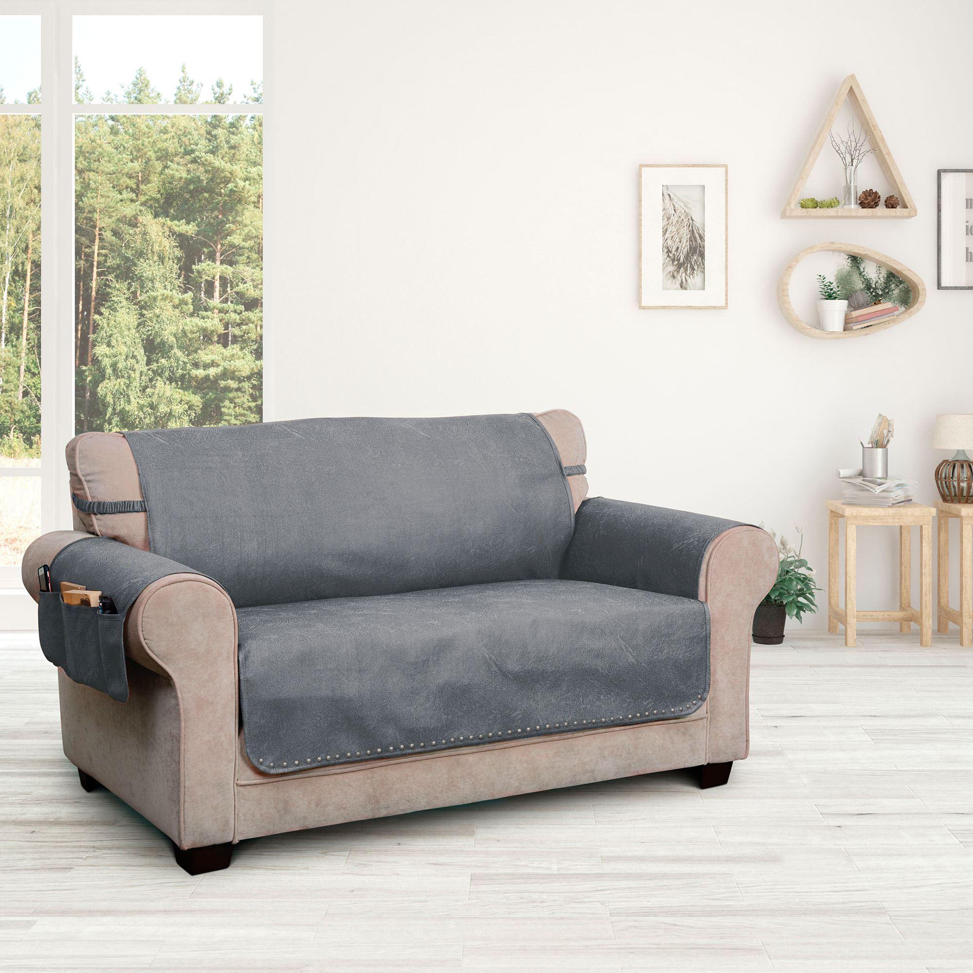 Stonehill Dark Gray Faux Leather Slip Resistant Furniture