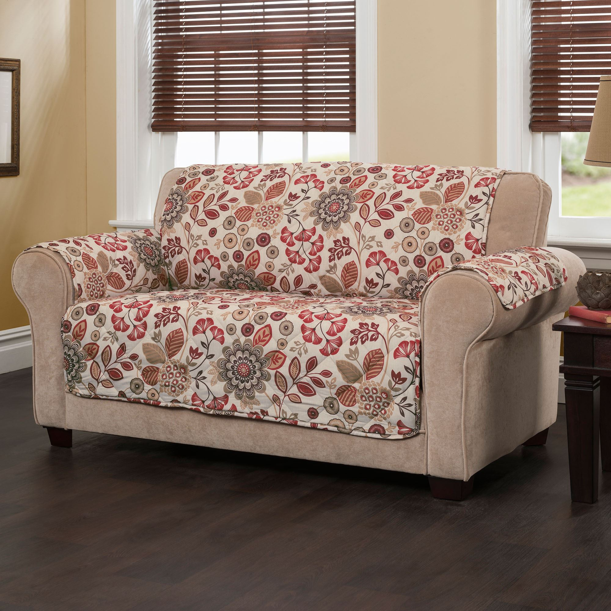 Fine Harleen Ember Glow Quilted Floral Sofa Furniture Protector Gmtry Best Dining Table And Chair Ideas Images Gmtryco