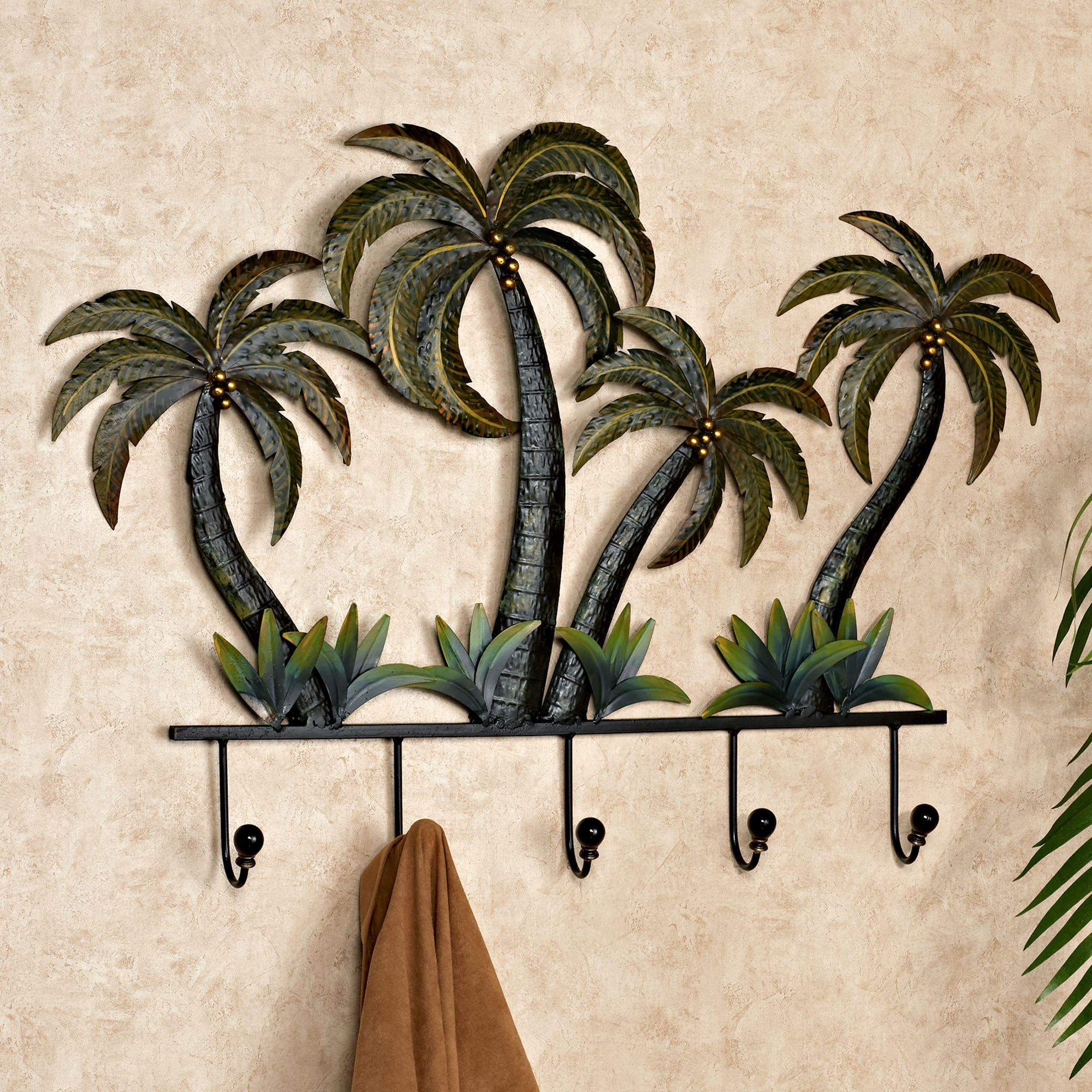 Palm tree tropical metal wall hook rack for Tropical metal wall art