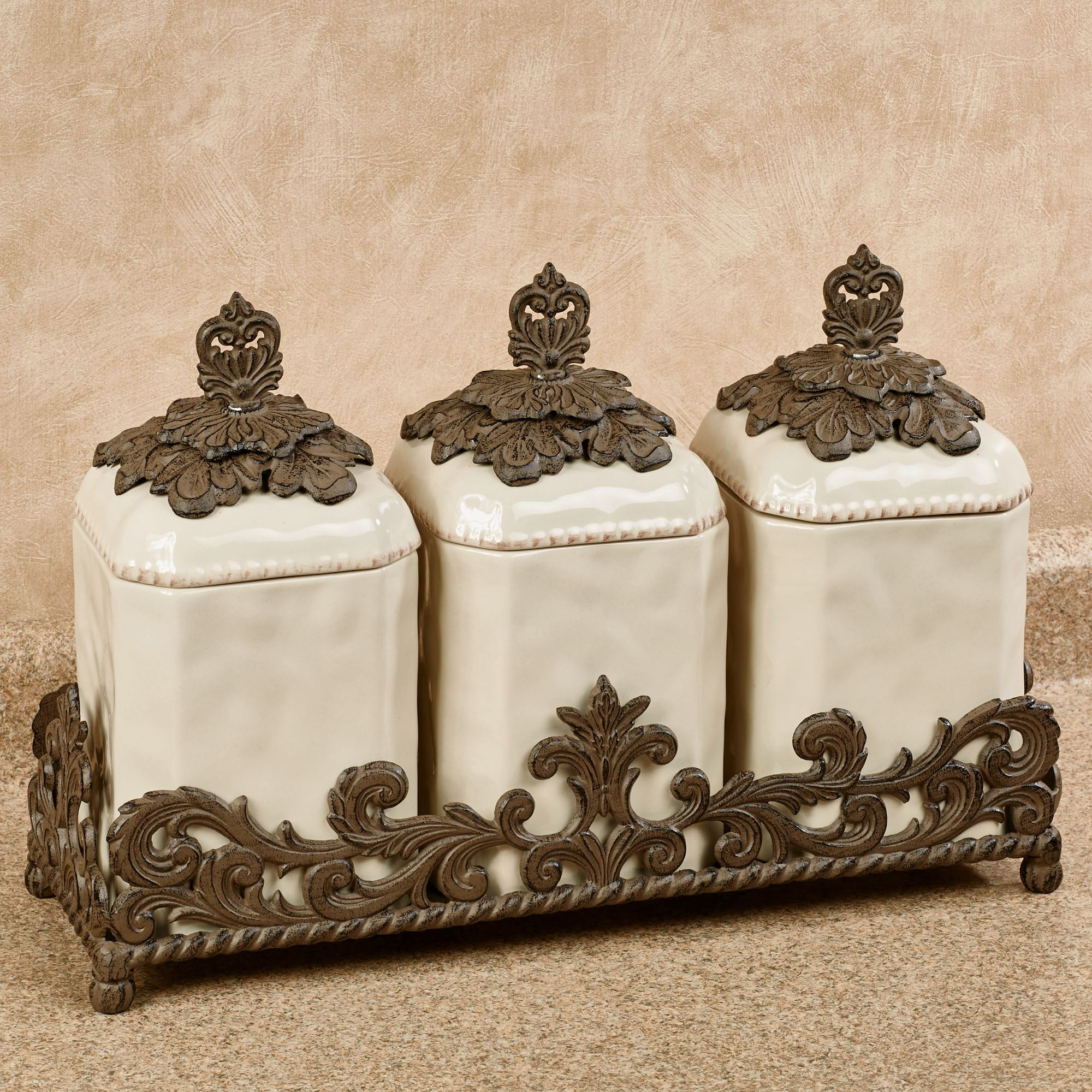 Provincial Kitchen Canisters In Holder Brown Four Piece Set. Click To Expand
