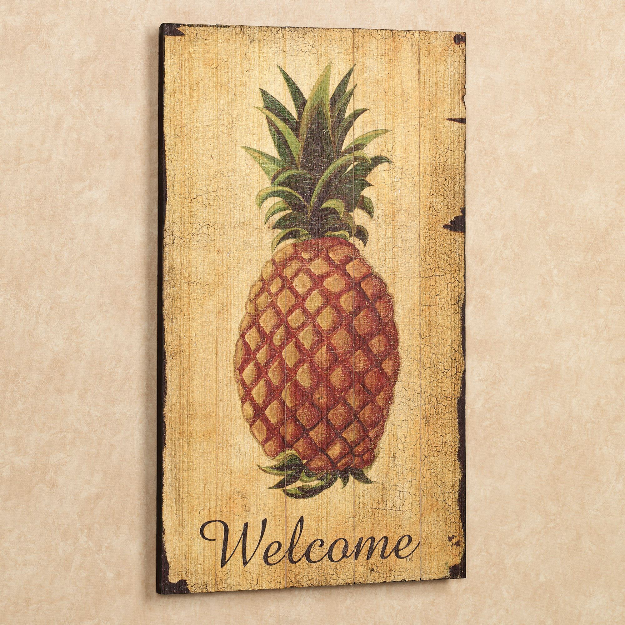 Pineapple Vintage Welcome Sign Wall Art