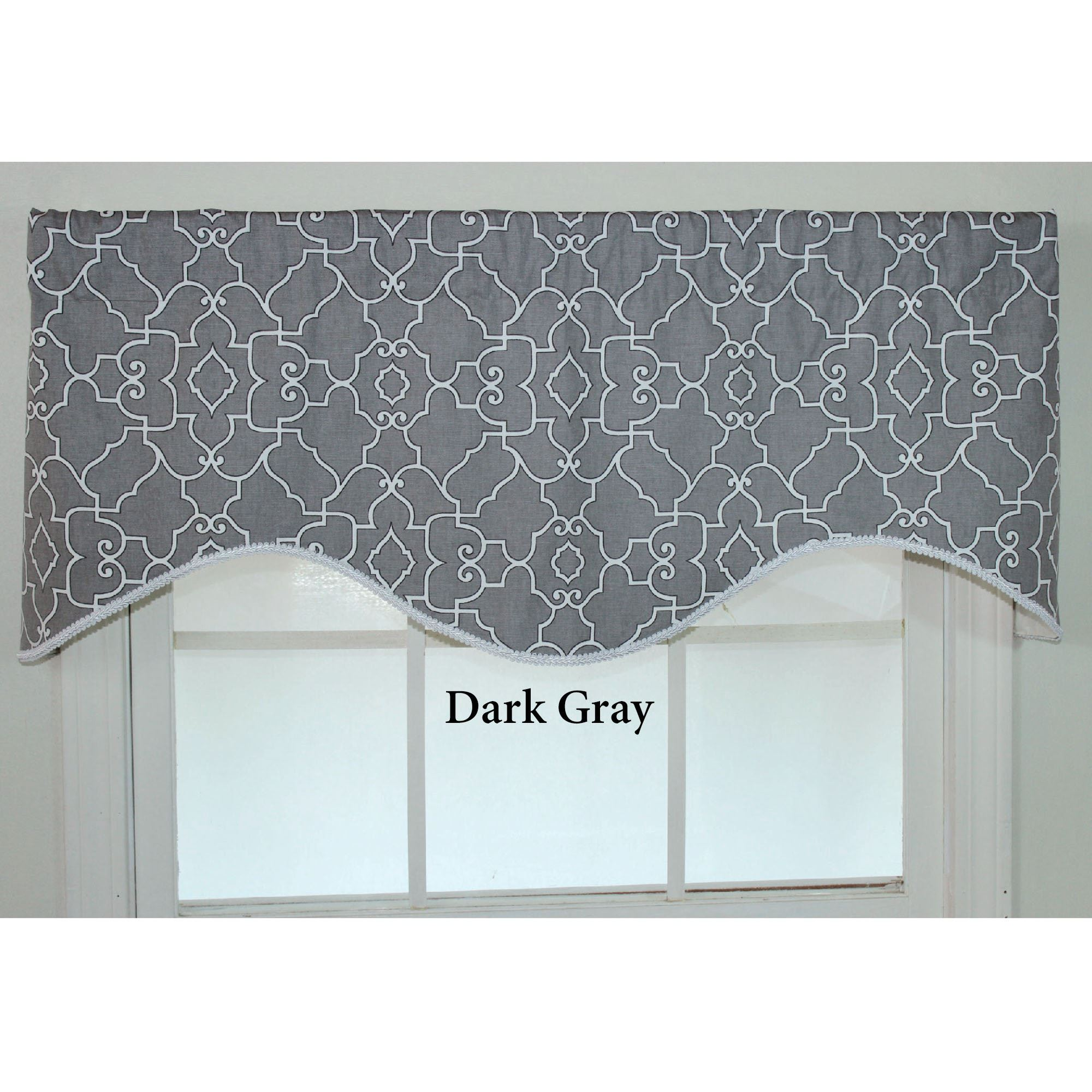 gray valance valances white window trellis yellow striped and grey