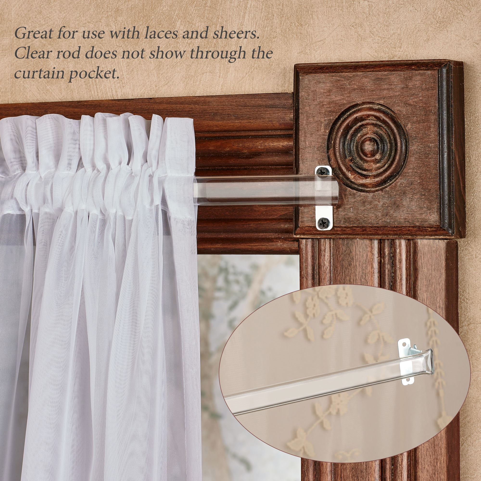 Clear Curtain Rod for Laces and Sheers - 28\