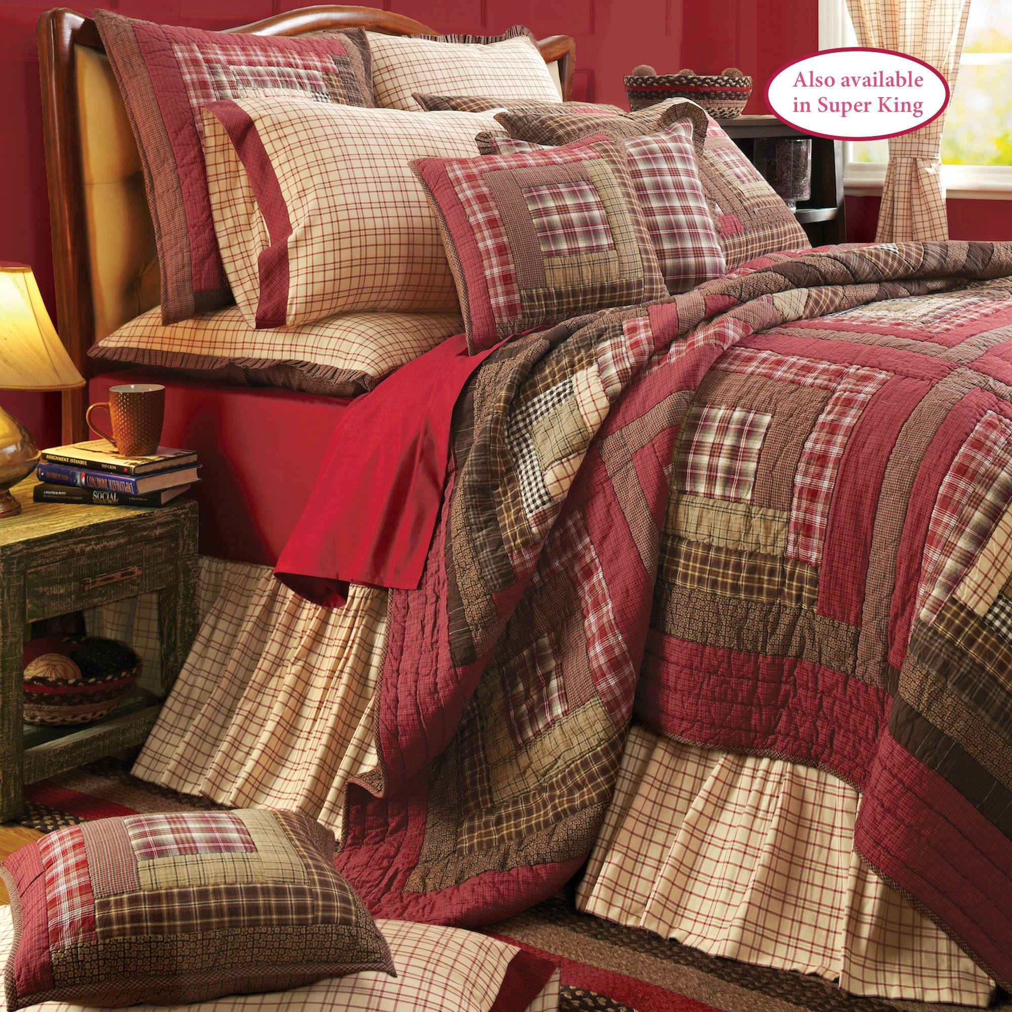 Tacoma Crimson Plaid Patchwork Quilt Set