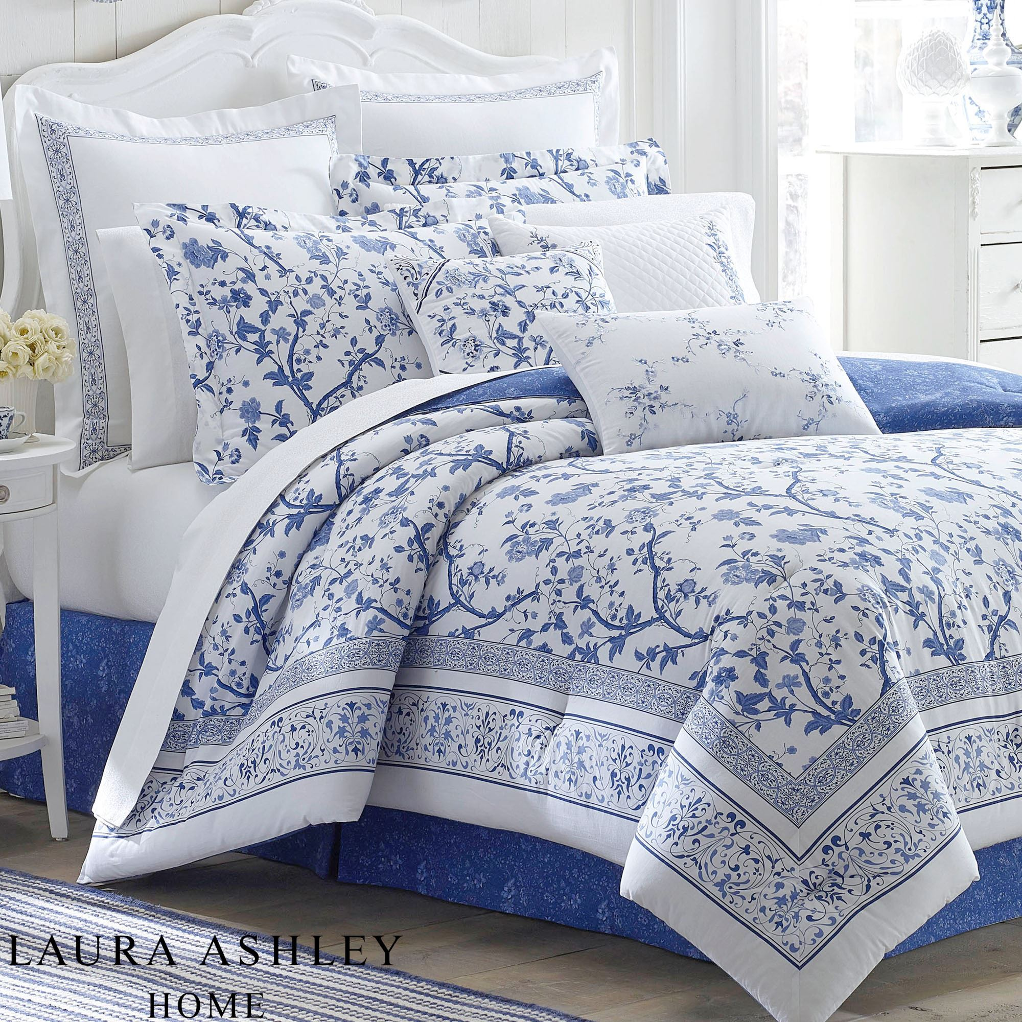 Charlotte Blue and White Floral Comforter Bedding by Laura Ashley : laura ashley king quilt - Adamdwight.com