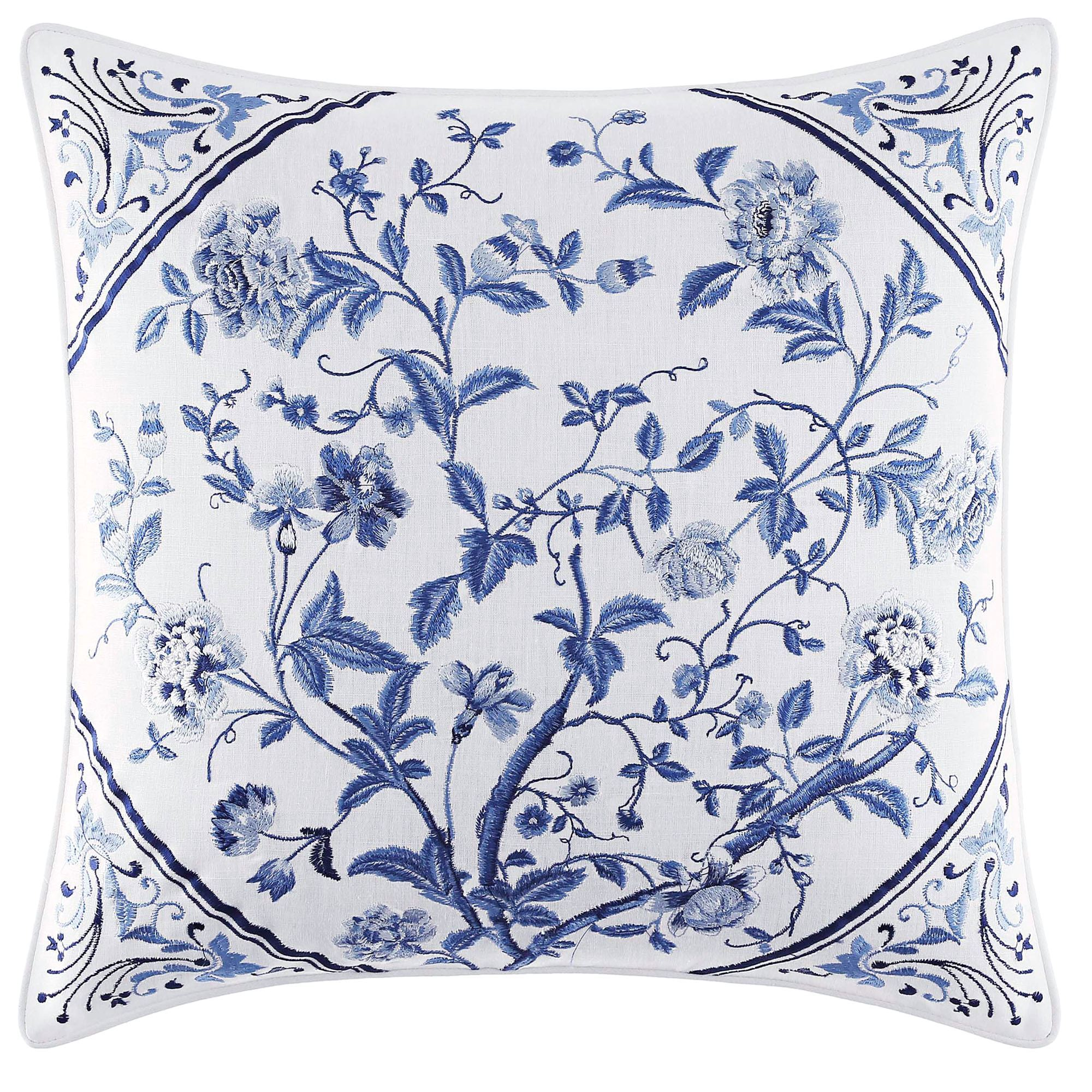 Charlotte blue and white floral comforter bedding by laura ashley charlotte embroidered pillow white 16 square gumiabroncs Choice Image
