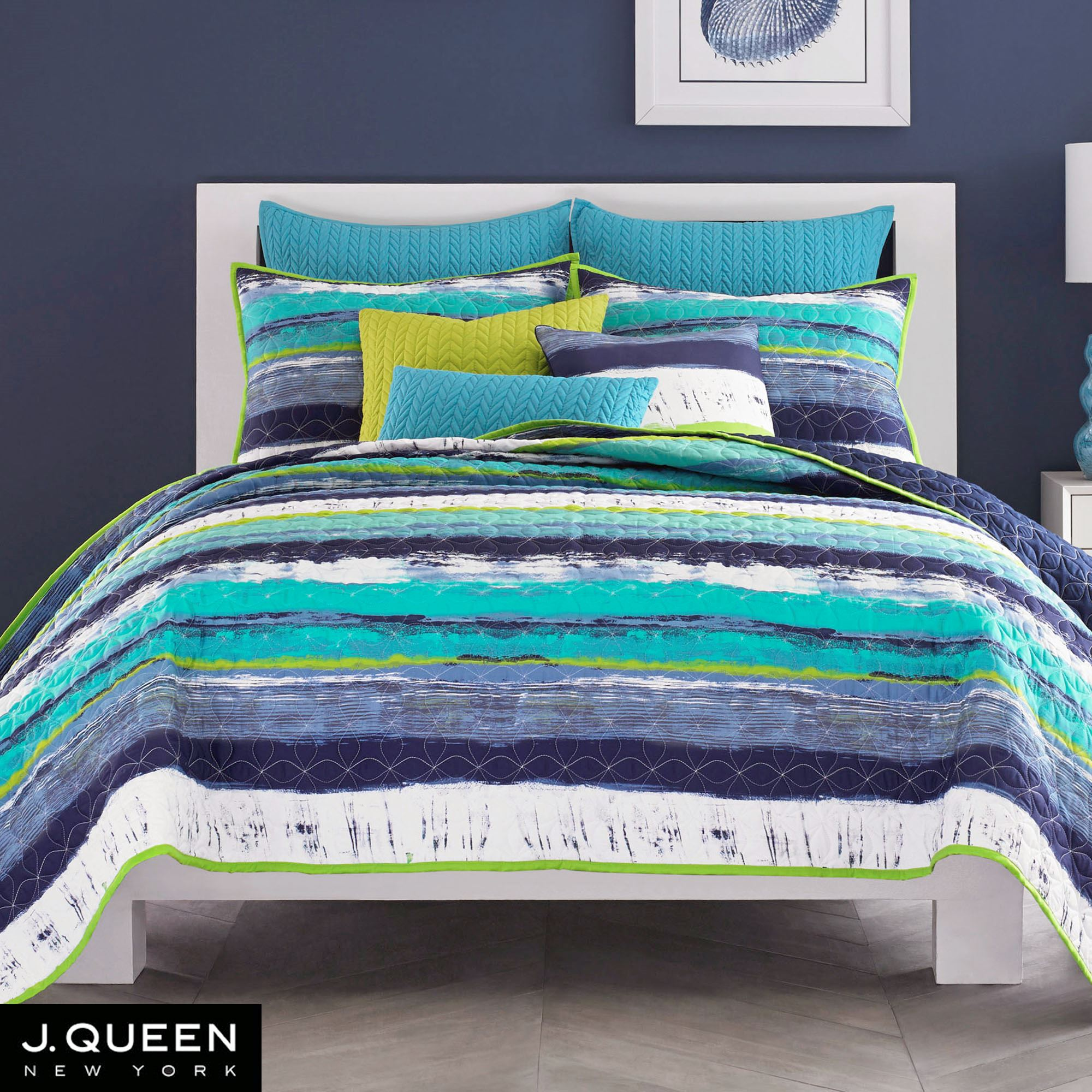 Cordoba Teal Quilted Coverlet Bedding from J by J Queen New York : teal quilt bedding - Adamdwight.com