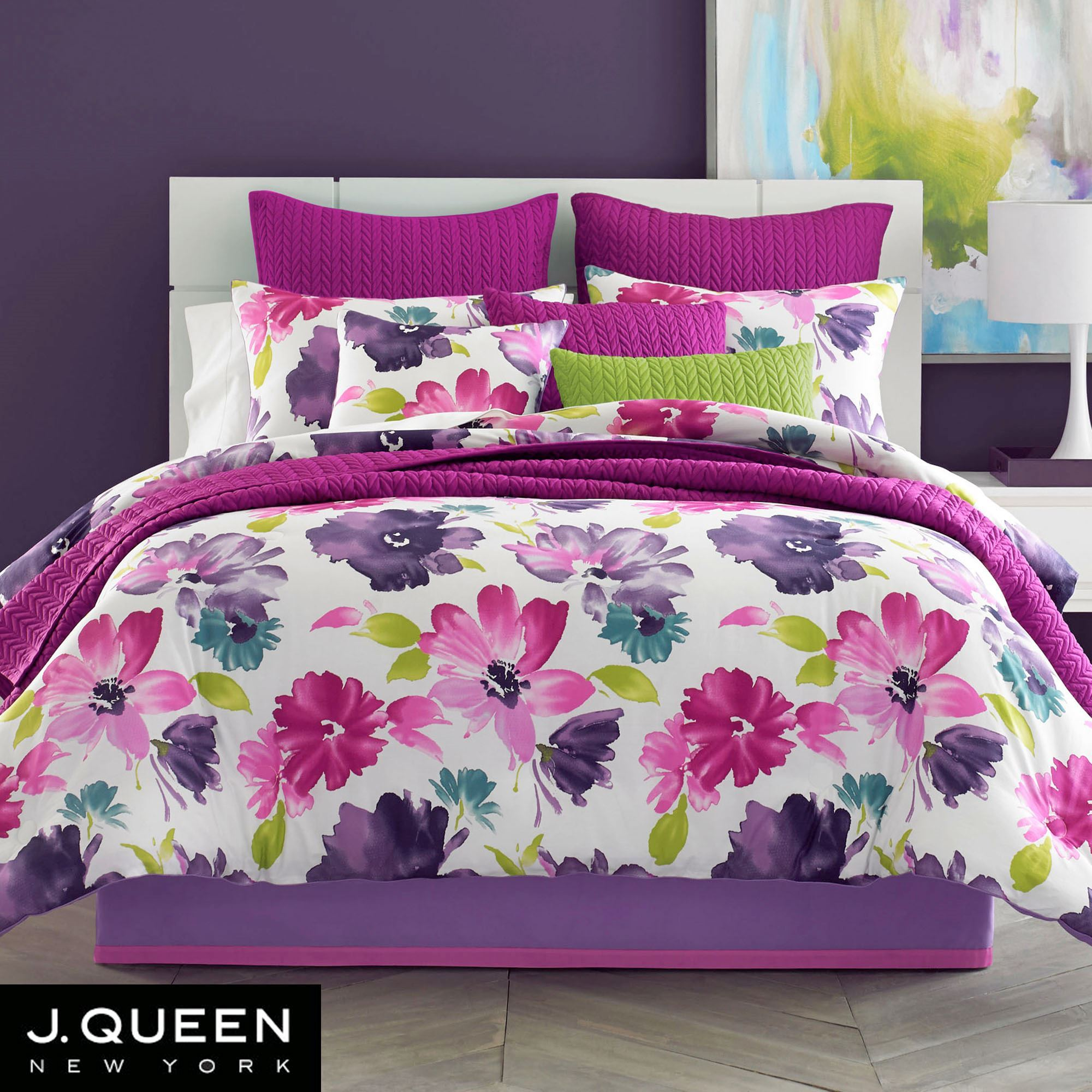 Midori Fuchsia Floral Comforter Bedding From J By J Queen