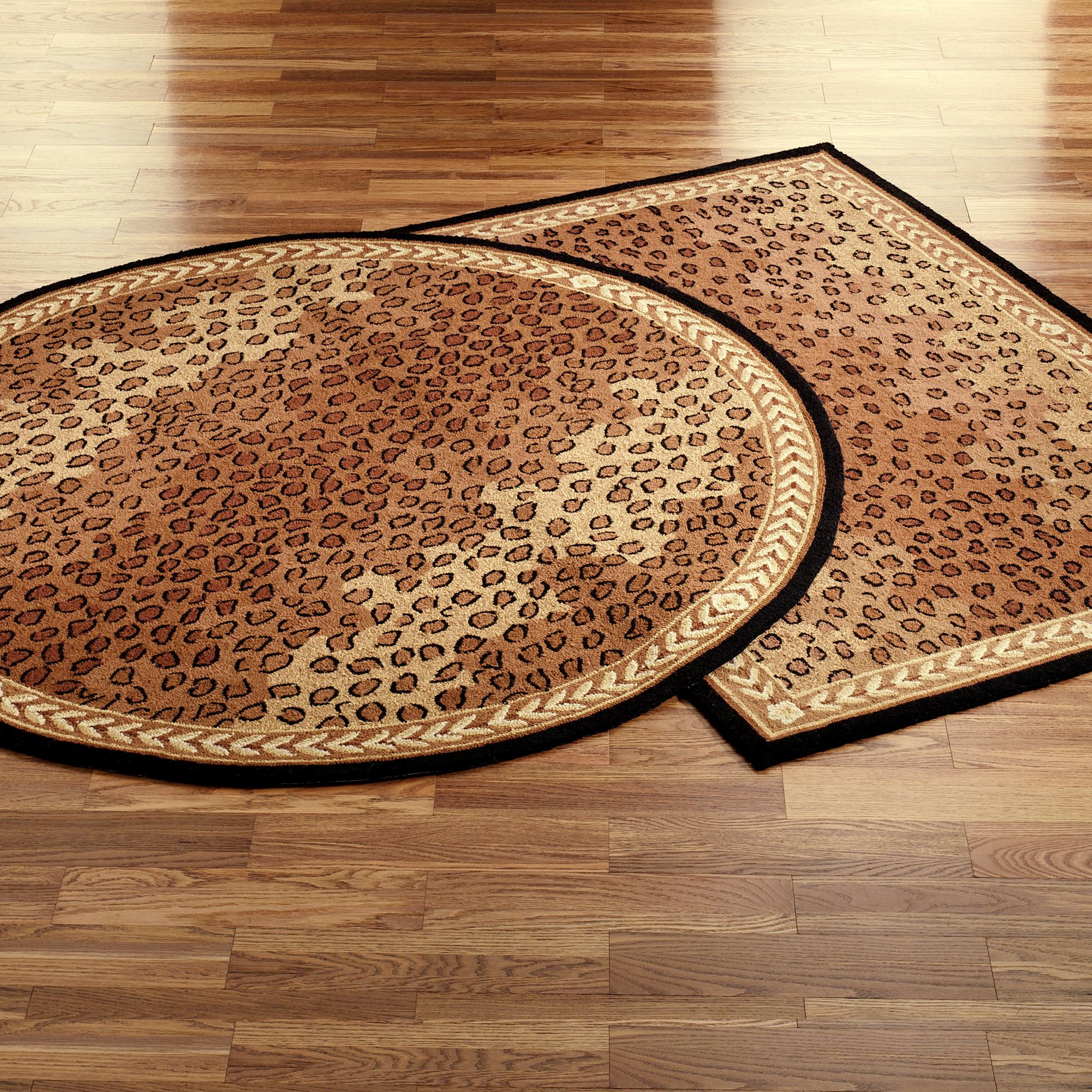 Leopard Area Rug Black Brown