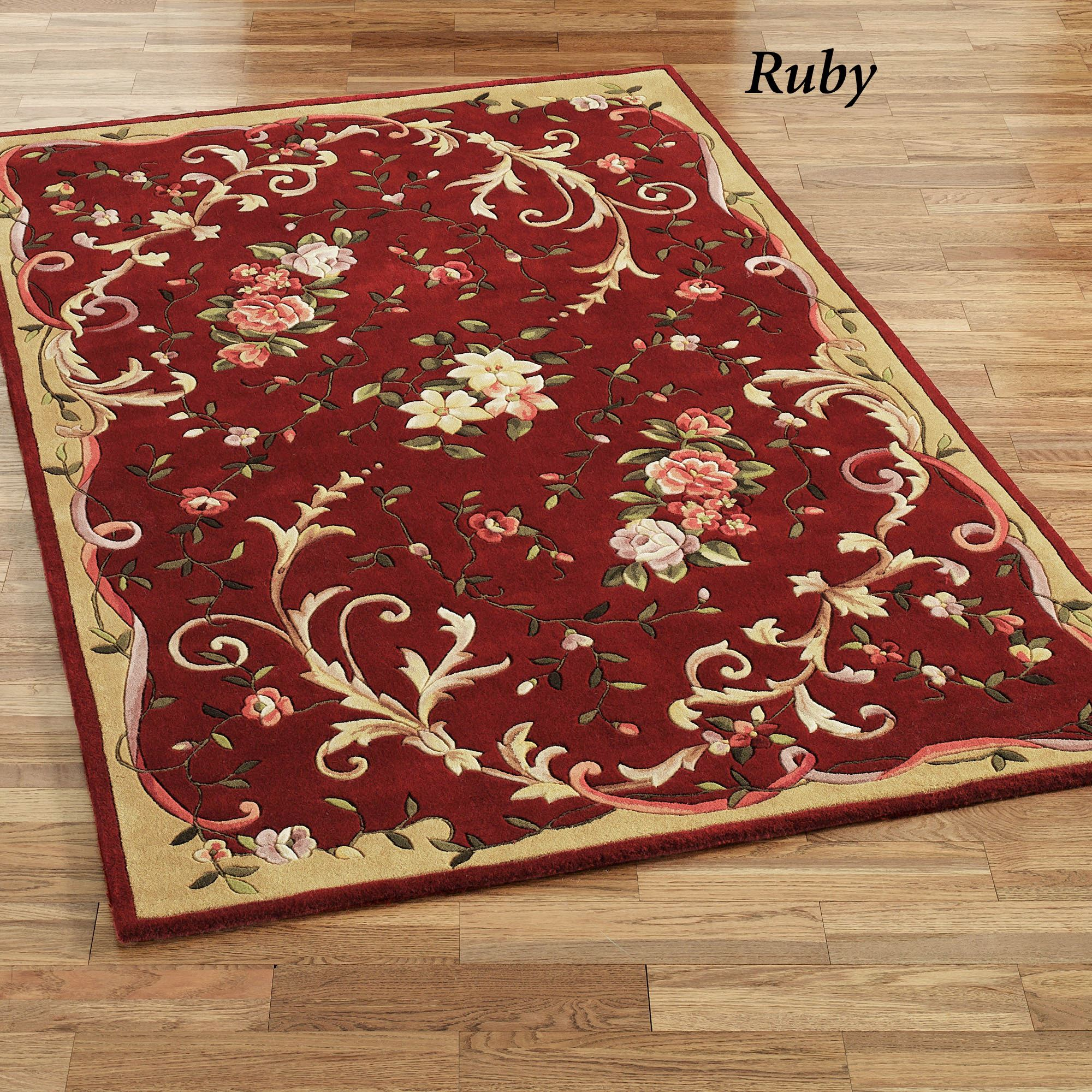 Floral Scroll Area Rugs