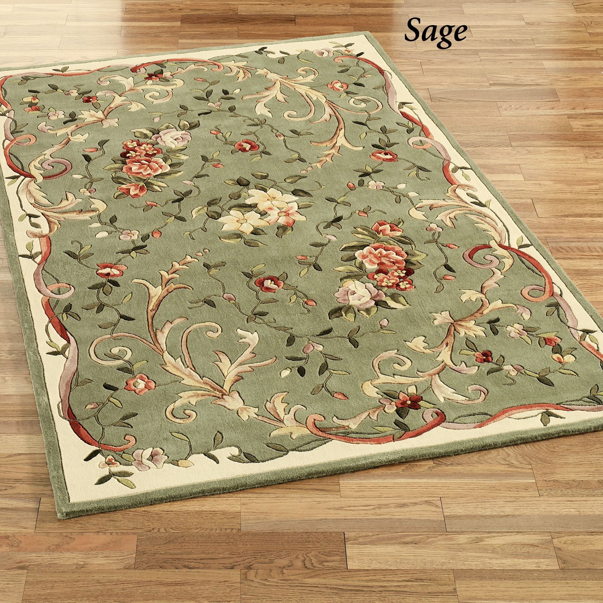 Floral Scroll Round Rugs