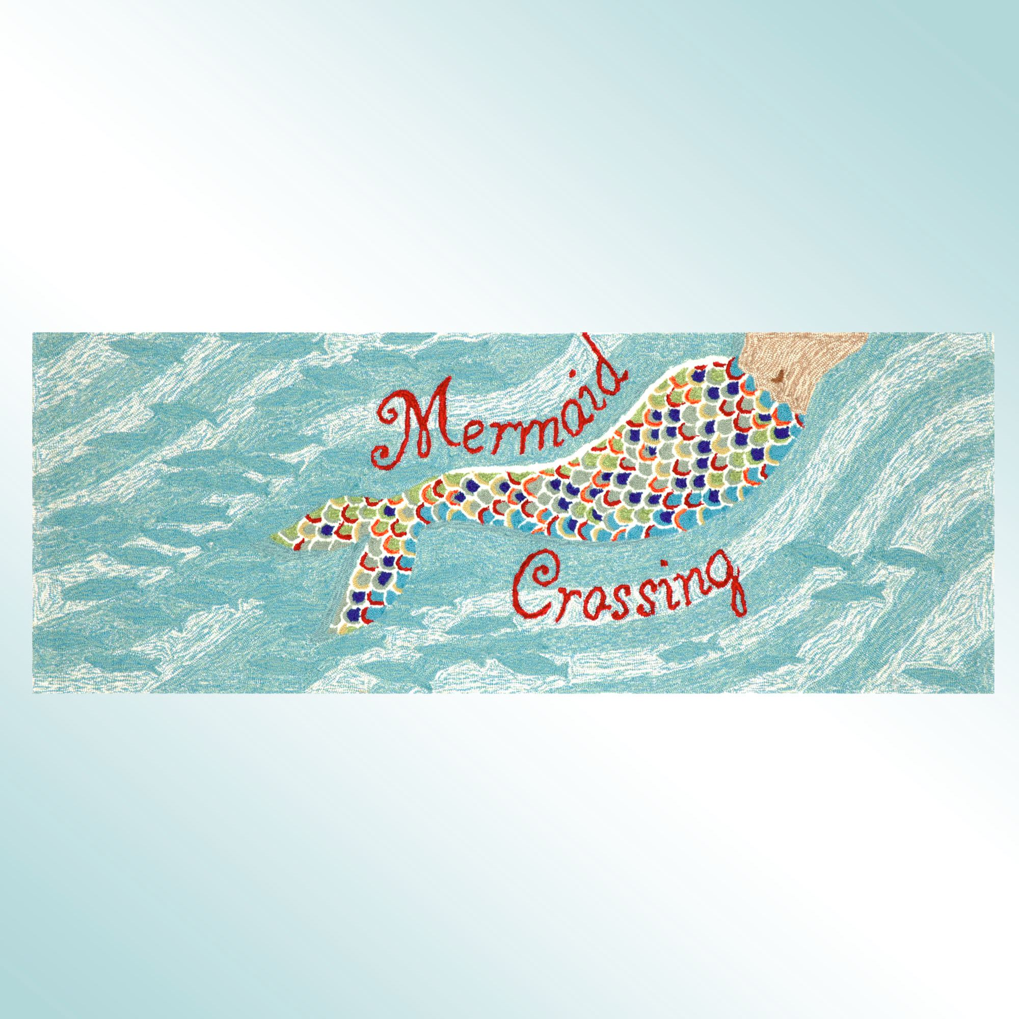 Mermaid Crossing Indoor Outdoor Rug Runner by Liora Manne